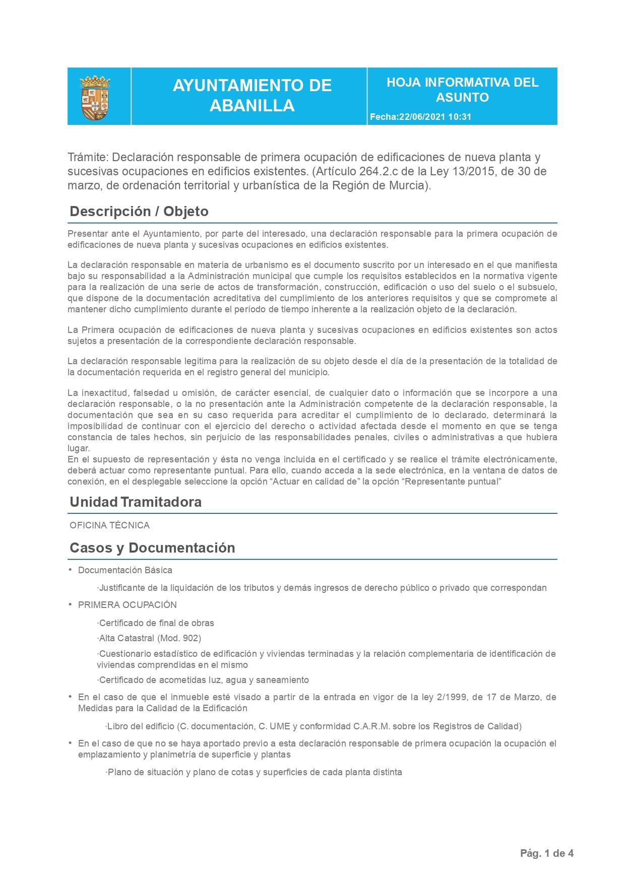 Declaración Responsable Segunda Ocupación Abanilla