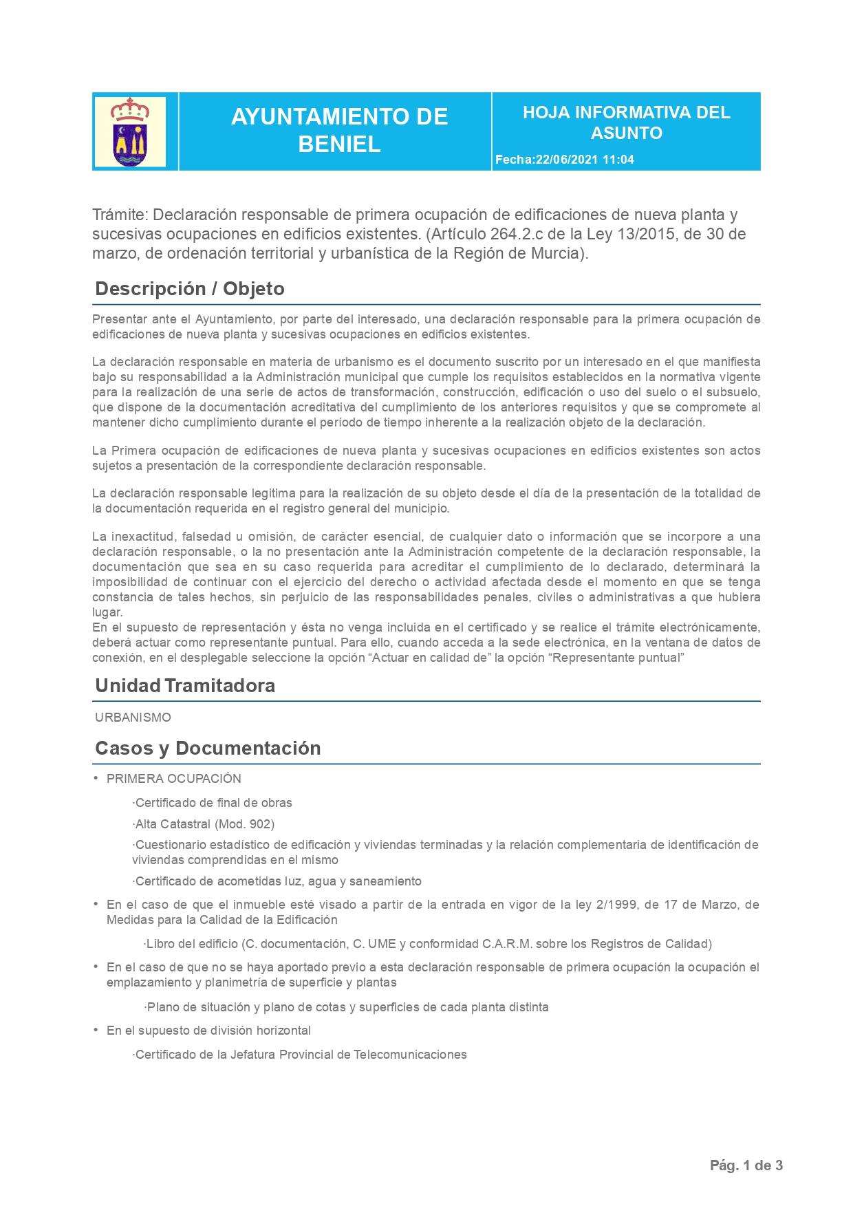 Declaración Responsable Segunda Ocupación Beniel