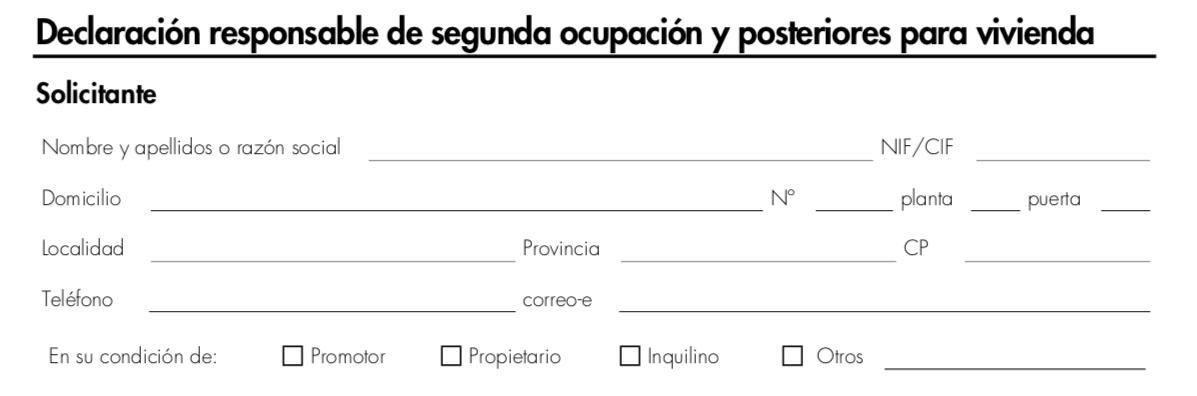 Impreso Declaración Responsable de Segunda Ocupación Elche