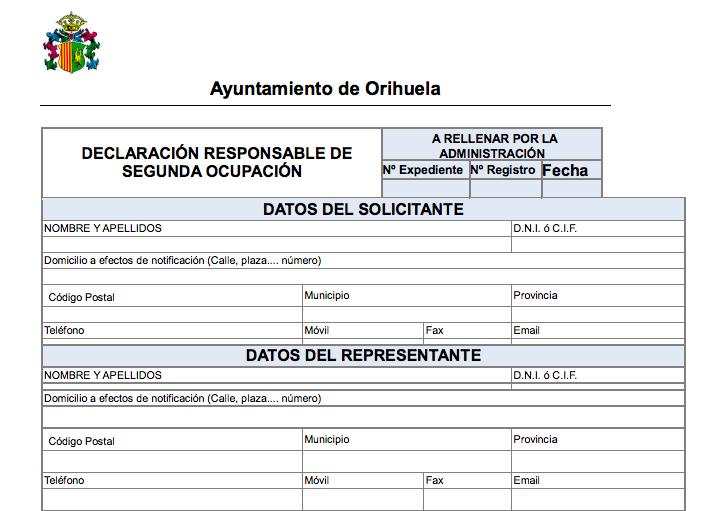 Impreso Declaración Responsable de Segunda Ocupación Orihuela