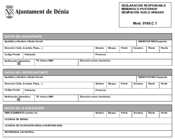 Impreso Declaración Responsable Segunda Ocupación Denia
