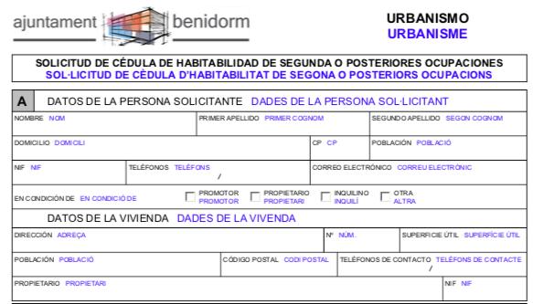 Impreso Declaración Responsable de Segunda Ocupación Benidorm