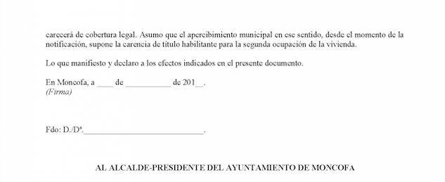 Impreso Declaración Responsable Segunda Ocupación Moncofa/Moncófar
