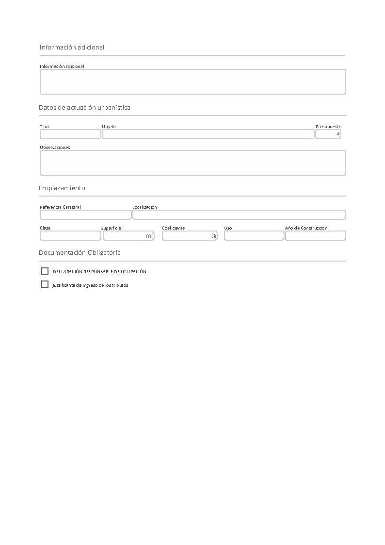 Impreso Declaración Responsable Segunda Ocupación Finestrat
