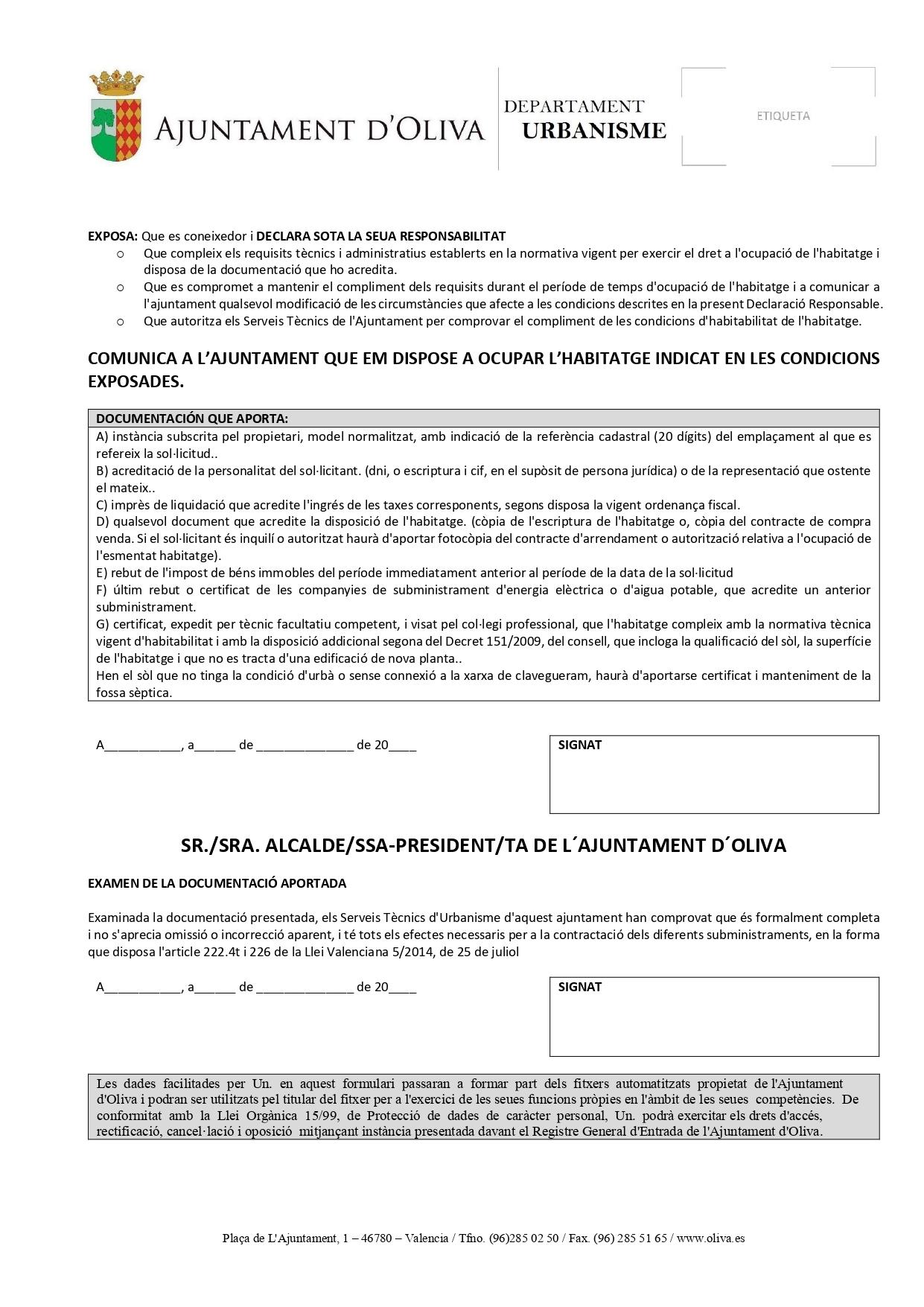 Licencia de Segunda Ocupación en Oliva