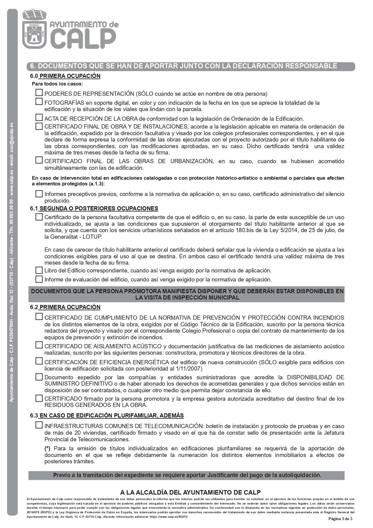 Declaración Responsable Segunda Ocupación Calpe