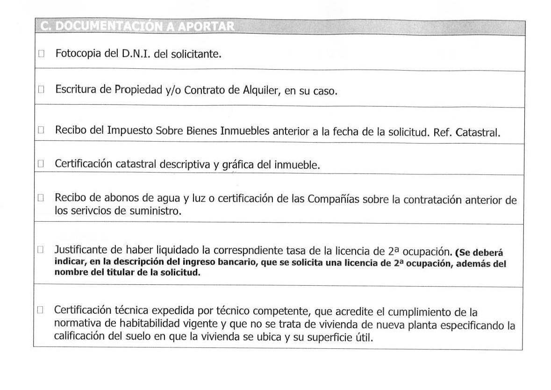Impreso Declaración Responsable Segunda Ocupación Los Montesinos