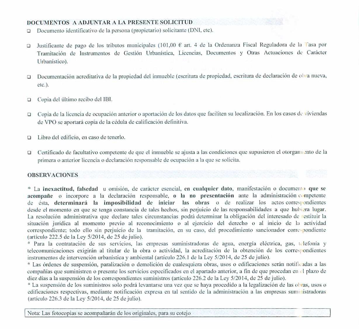 Impreso Declaración Responsable Segunda Ocupación Agost