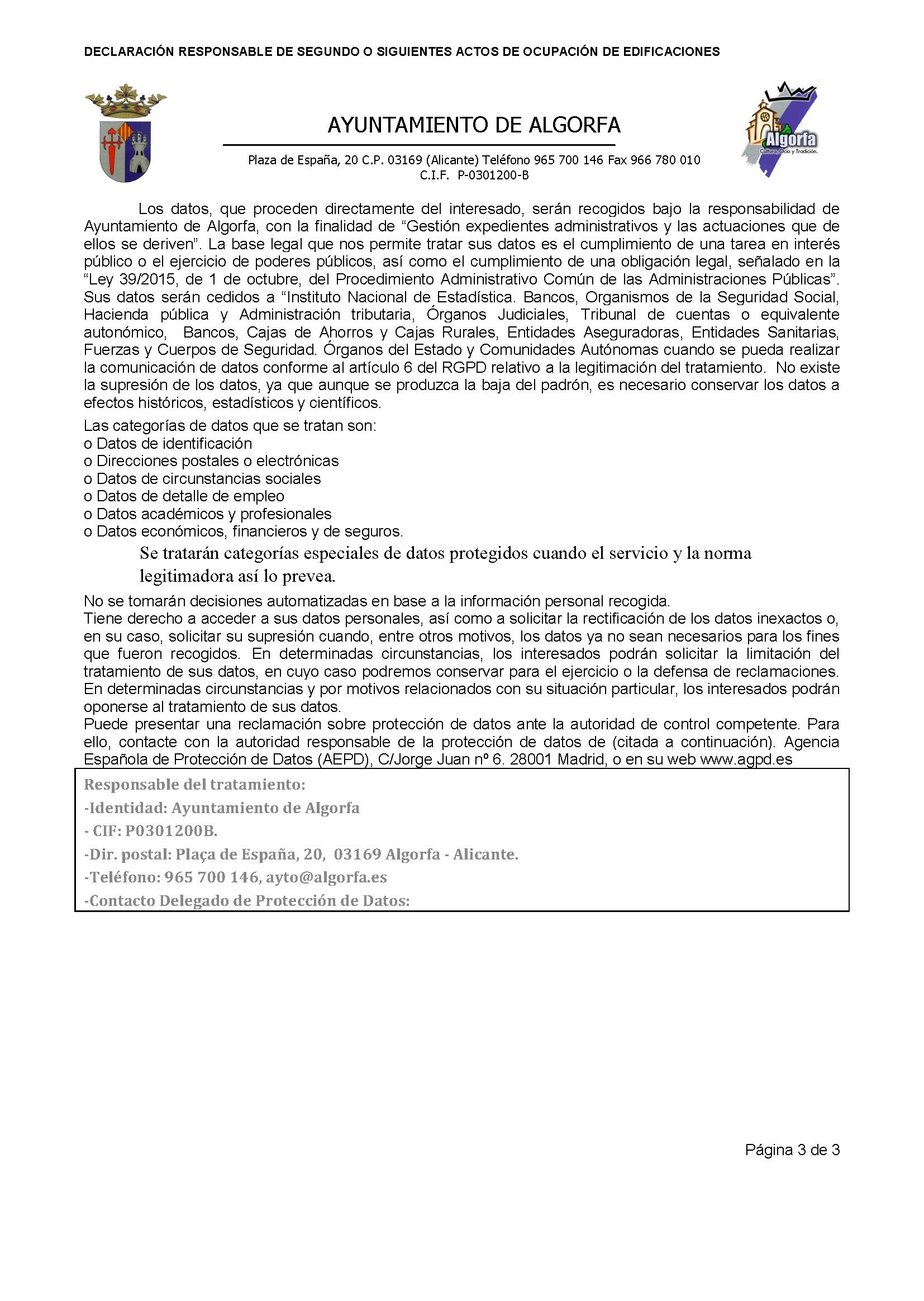 Impreso Declaración Responsable Segunda Ocupación Algorfa