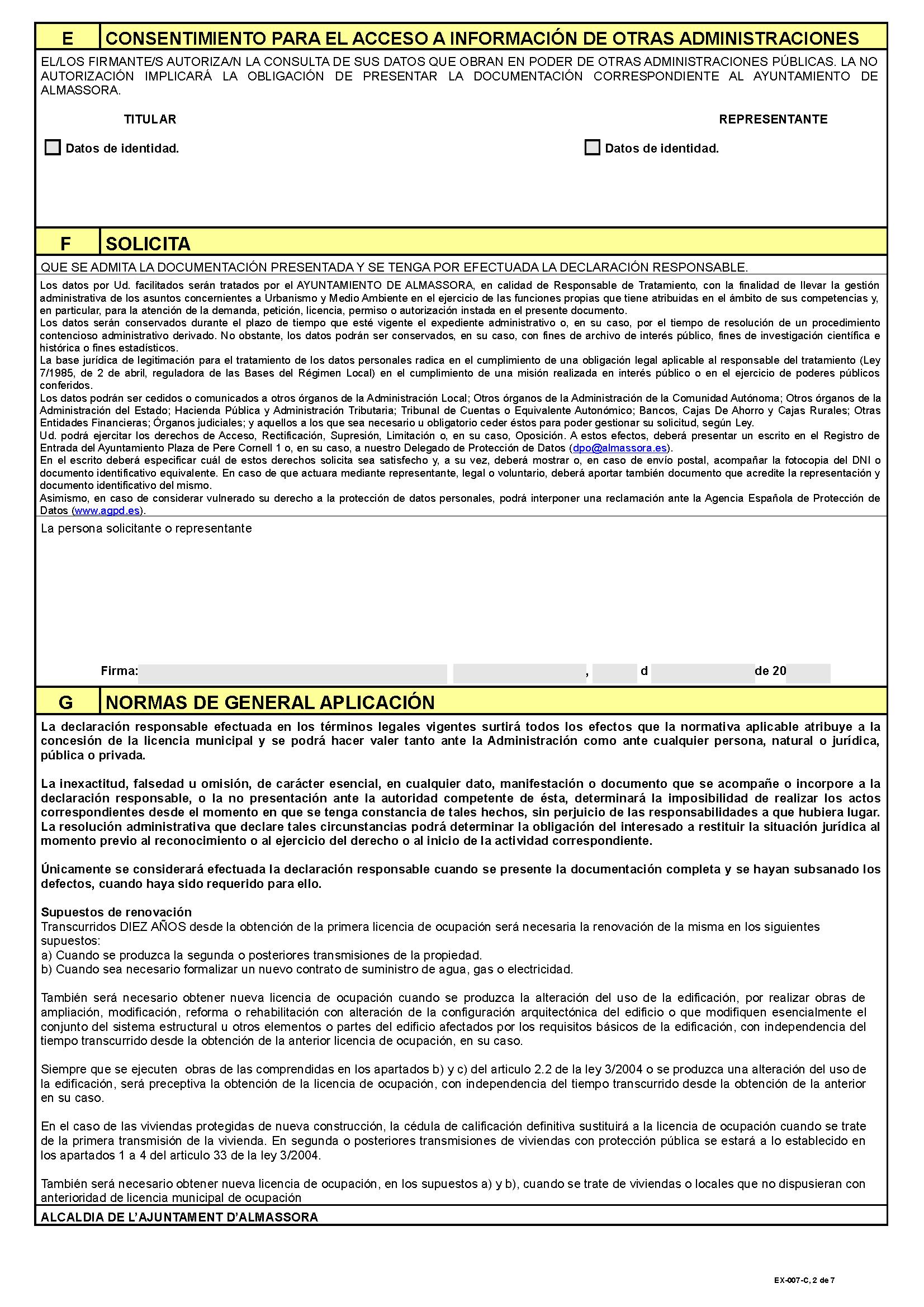 Impreso Declaración Responsable Segunda Ocupación Almassora