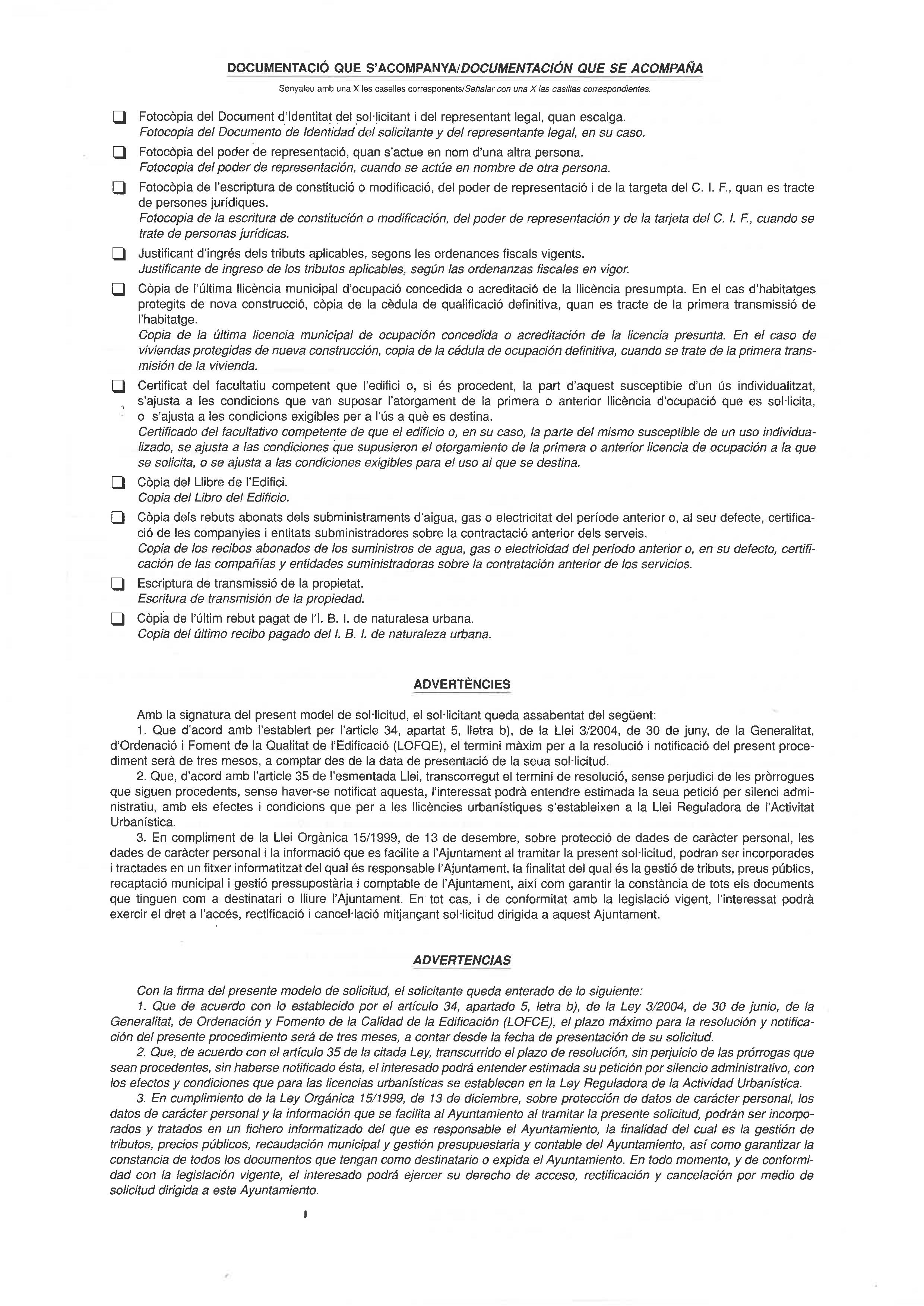 Impreso Declaración Responsable Segunda Ocupación Benejuzar