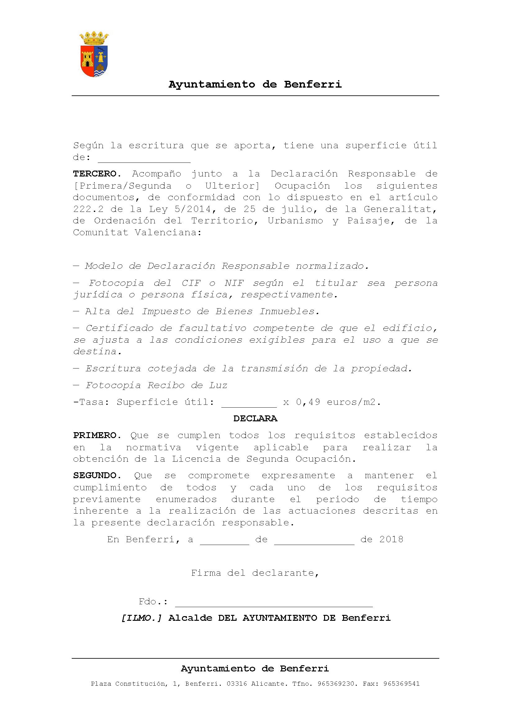 Impreso Declaración Responsable Segunda Ocupación Benferri