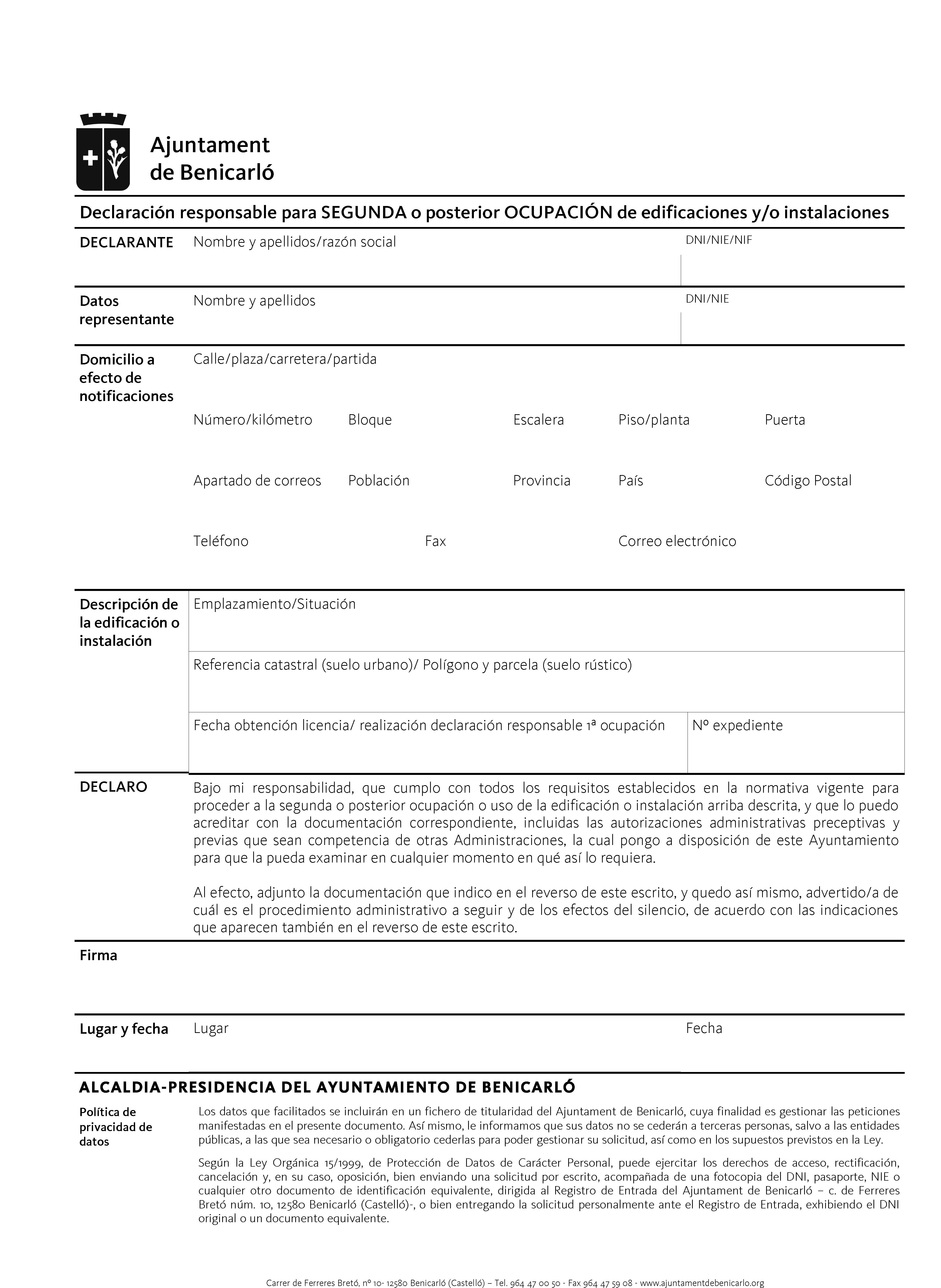 Impreso Declaración Responsable Segunda Ocupación Benicarló