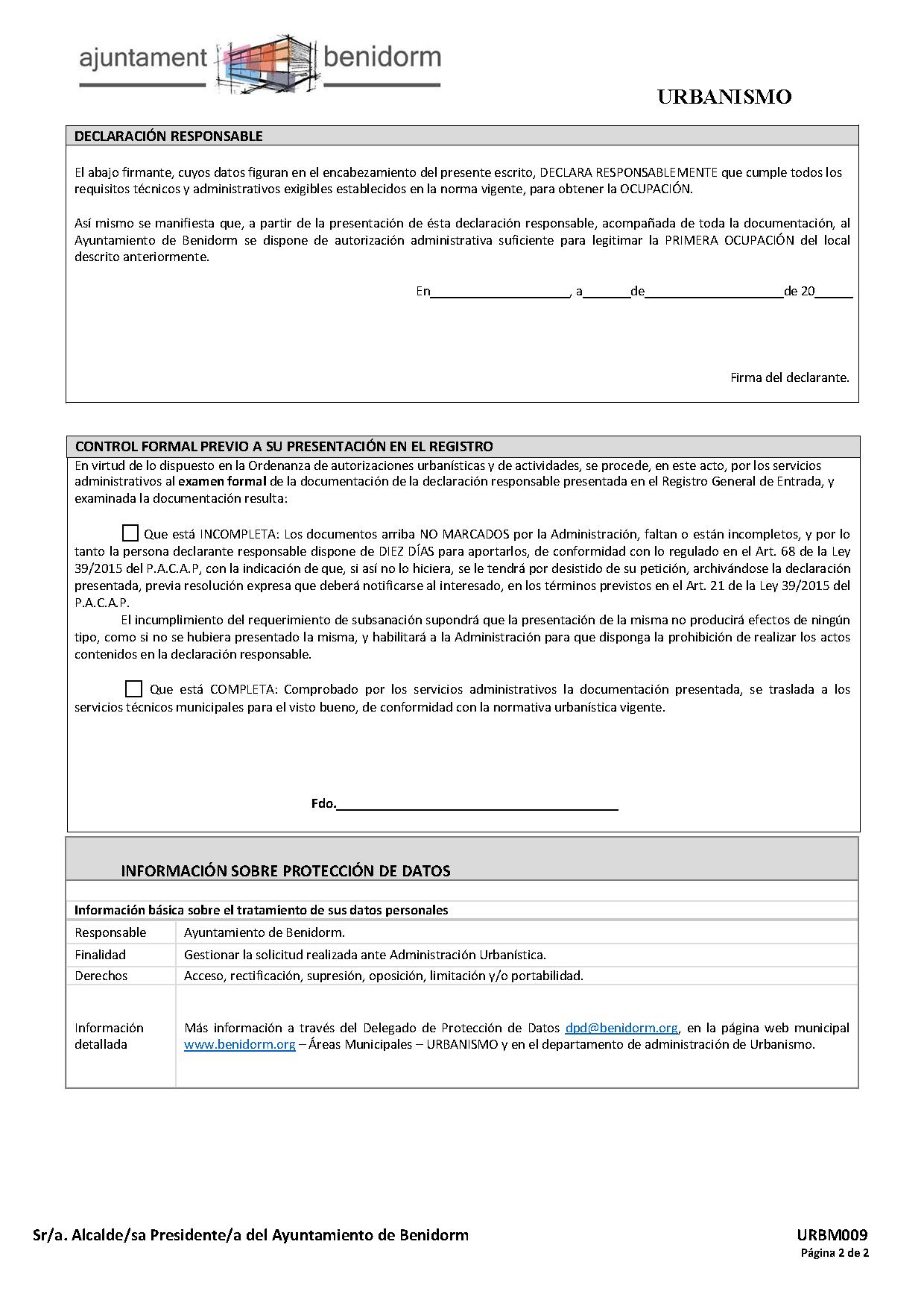 Impreso Declaración Responsable Segunda Ocupación Benidorm - Local