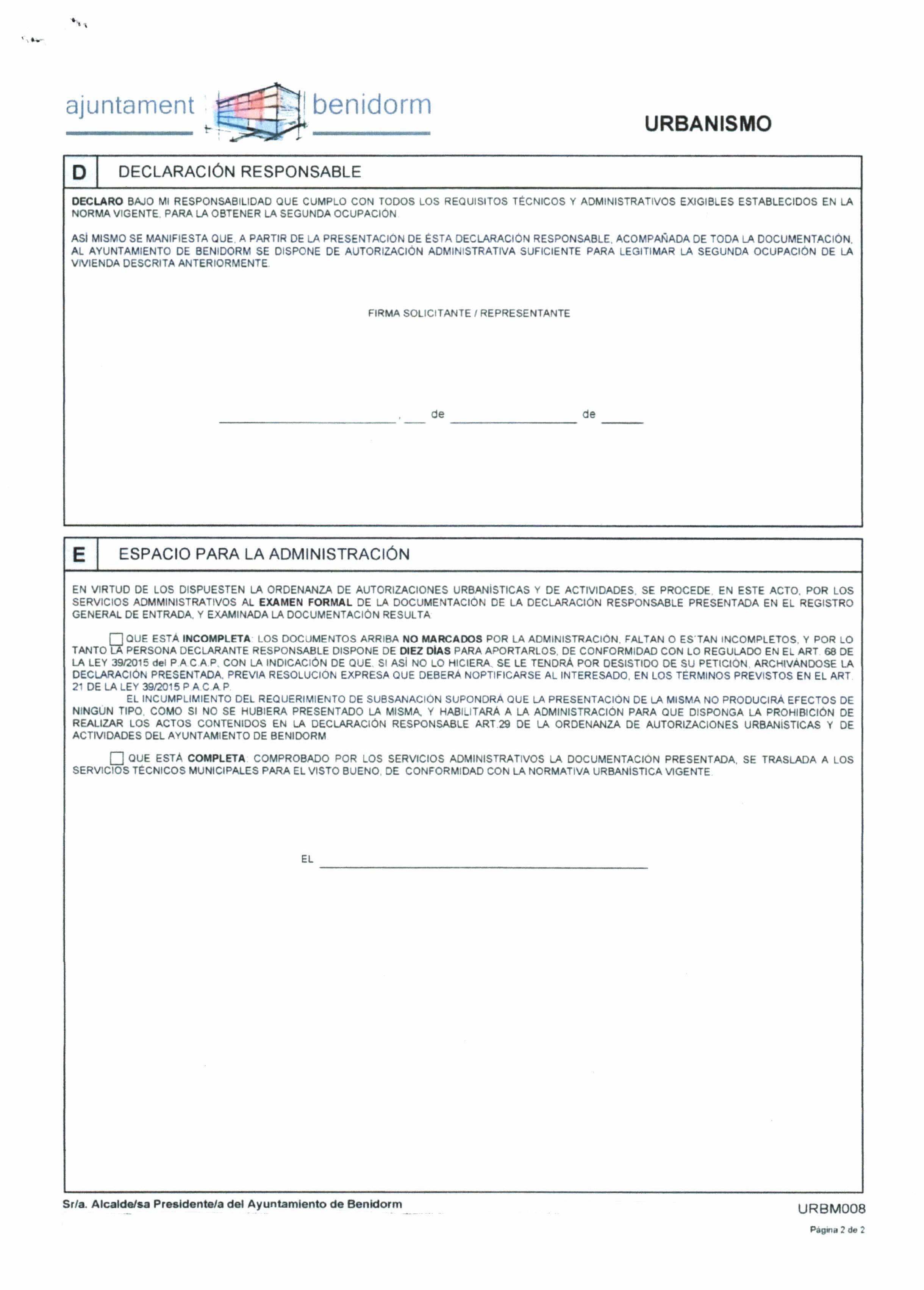 Impreso Declaración Responsable Segunda Ocupación Benidorm - Vivienda