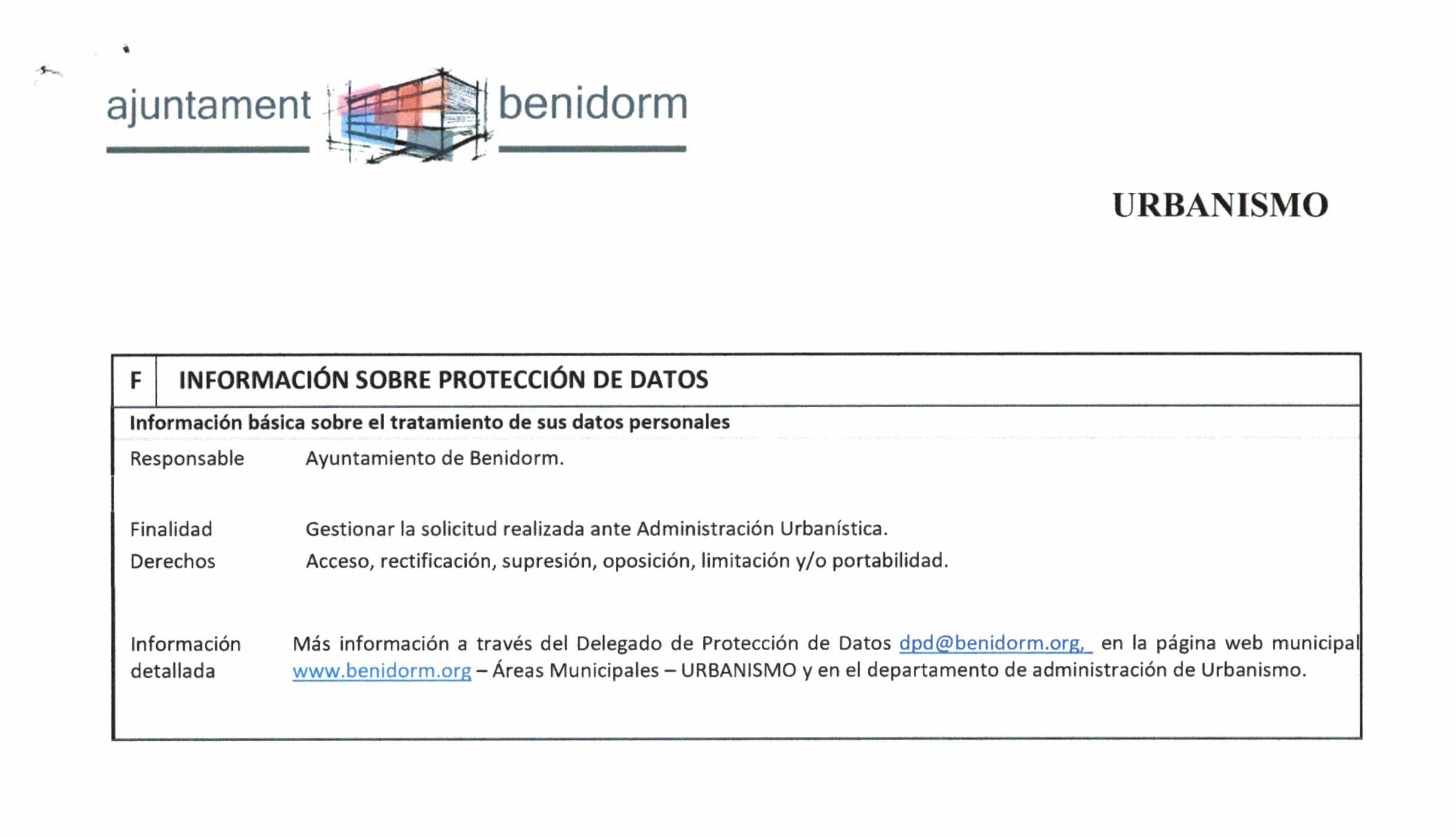 Impreso Declaración Responsable Segunda Ocupación Benidorm