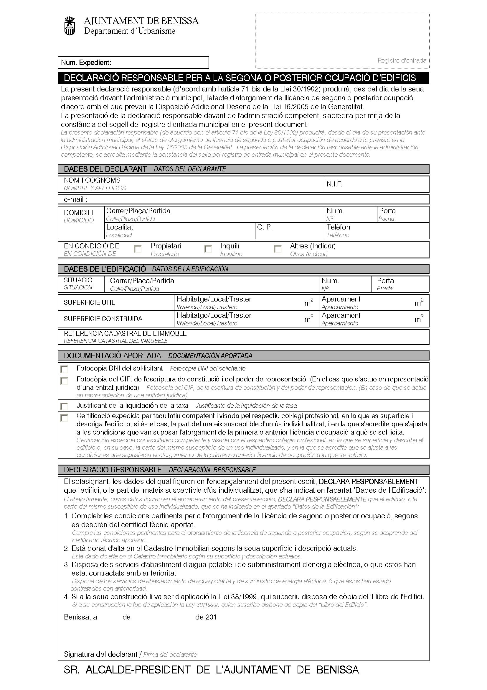 Impreso Declaración Responsable Segunda Ocupación Benisa/Benissa