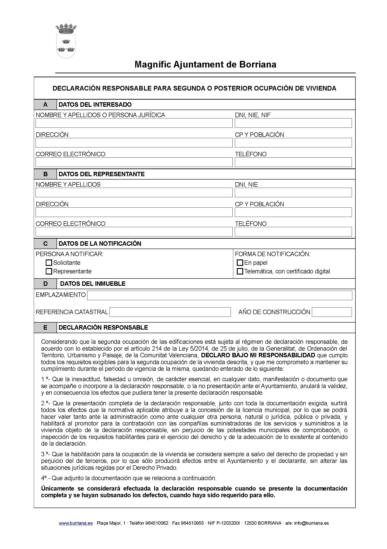 Impreso Declaración Responsable Segunda Ocupación Burriana/Borriana