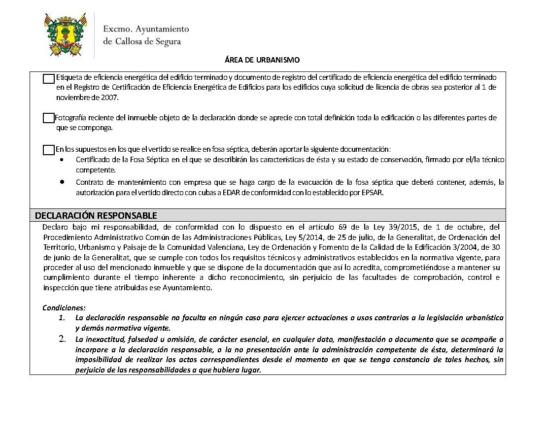 Impreso Declaración Responsable Segunda Ocupación Callosa de Segura