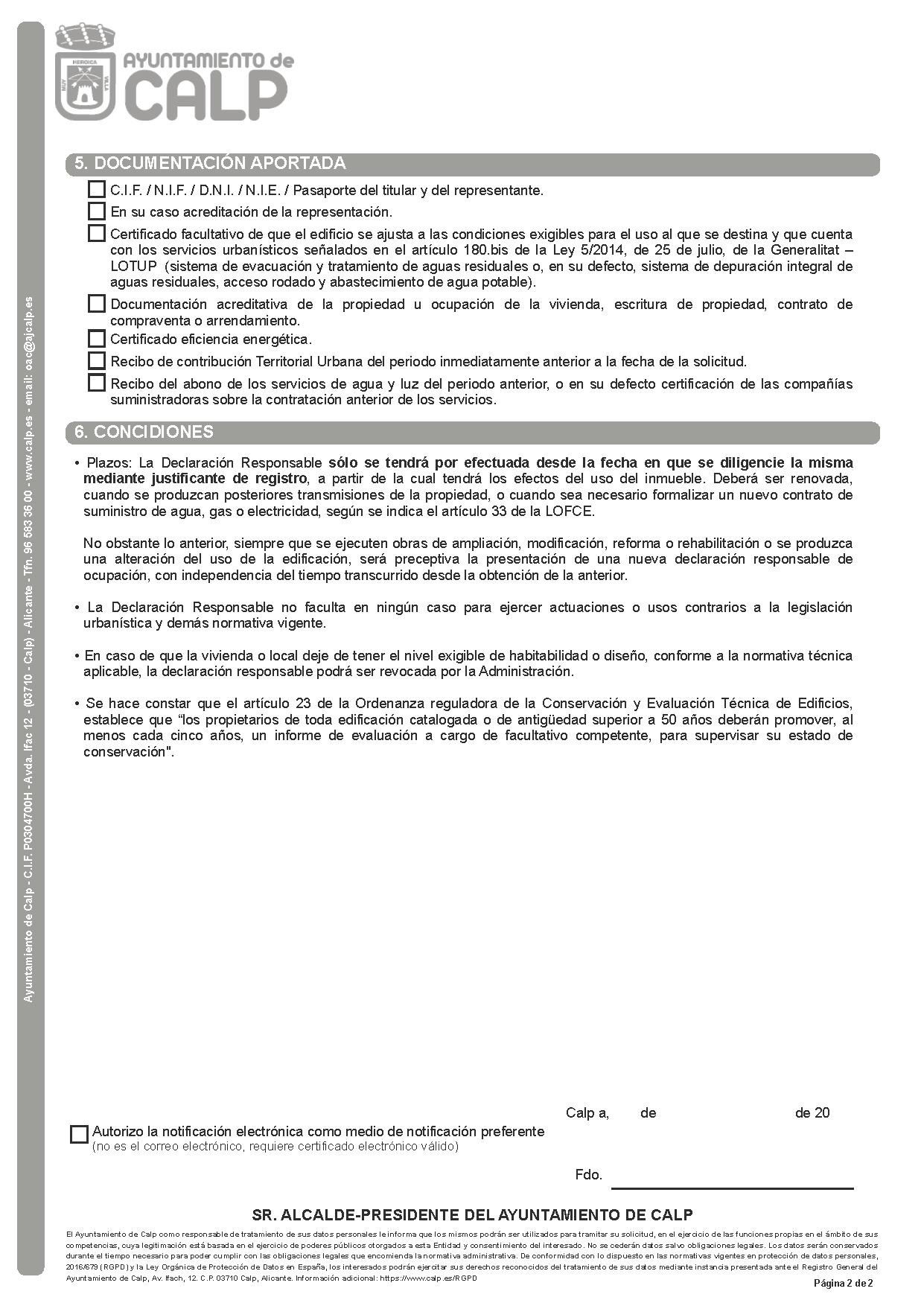 Impreso Declaración Responsable Segunda Ocupación Calpe/Calp