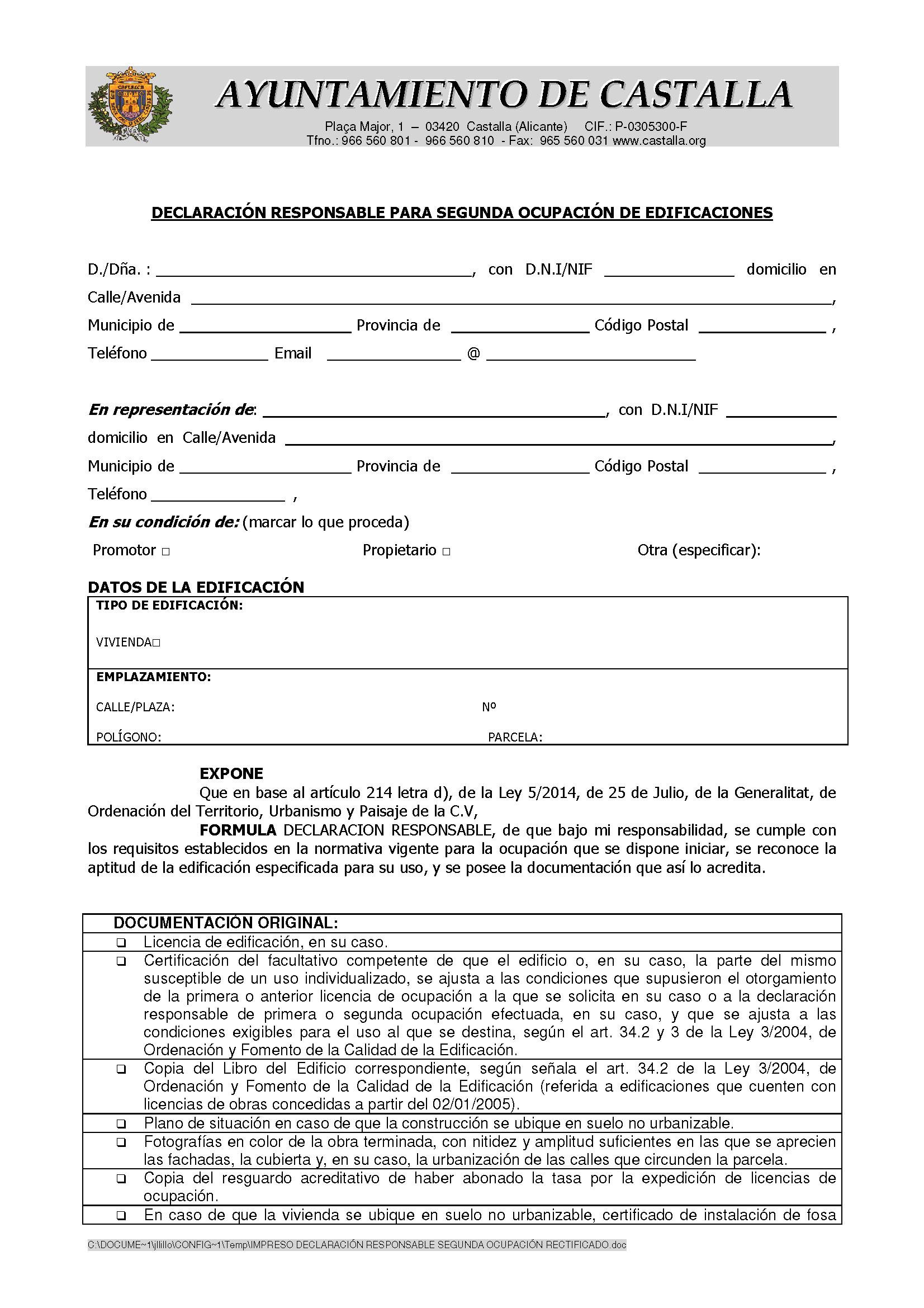 Impreso Declaración Responsable Segunda Ocupación Castalla