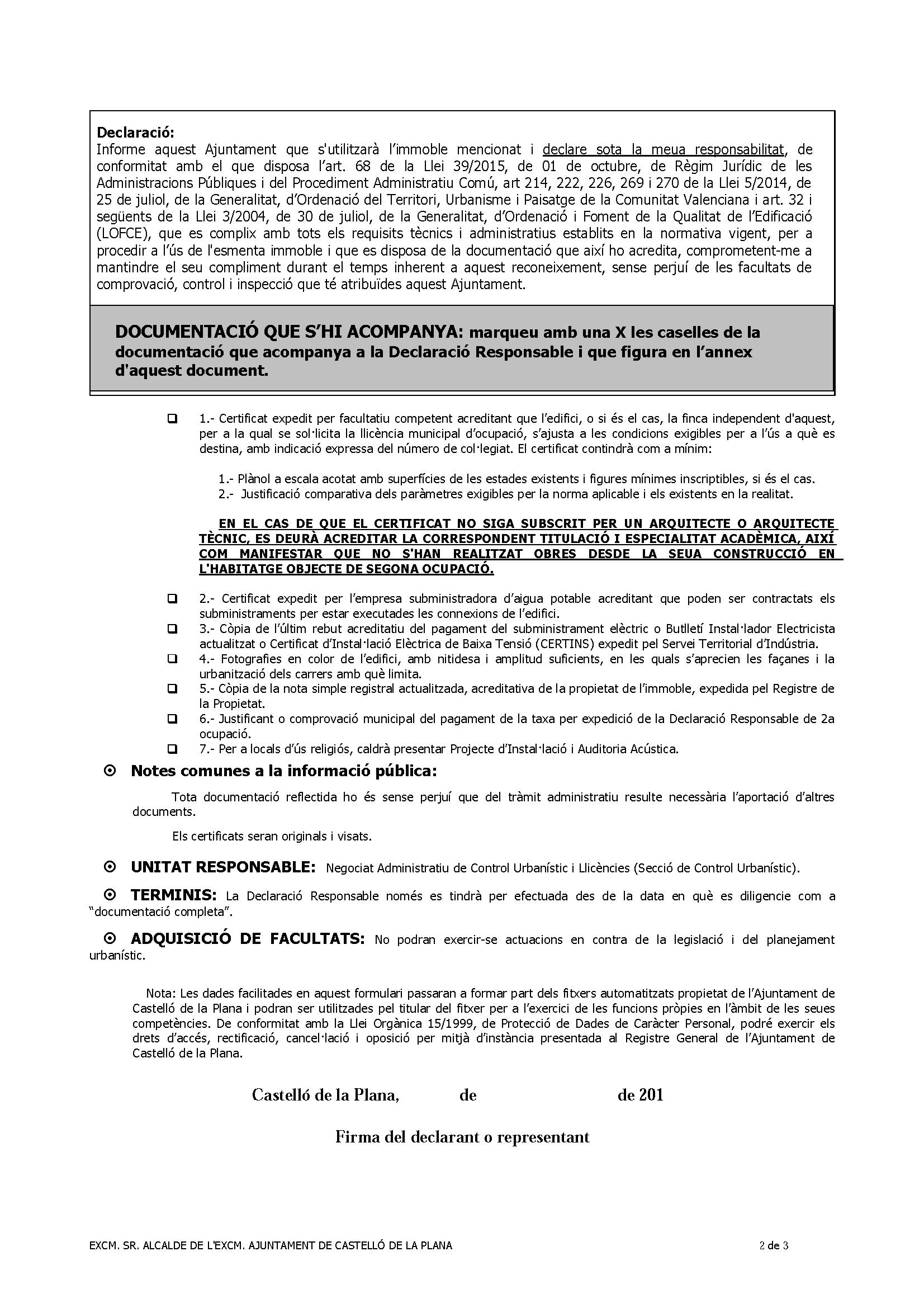 Impreso Declaración Responsable Segunda Ocupación Castellón de la Plana/Castelló