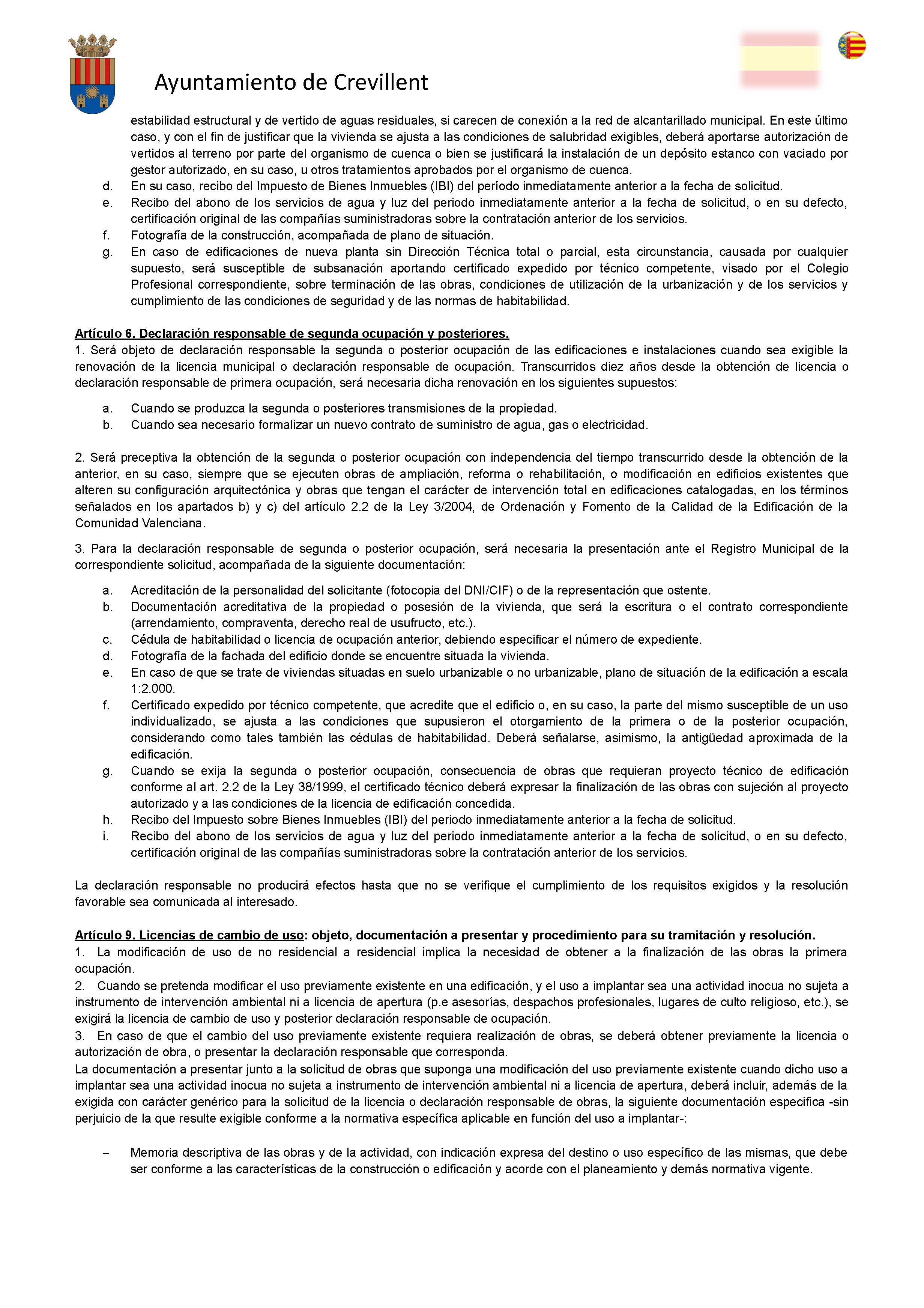 Impreso Declaración Responsable Segunda Ocupación Crevillente/Crevillent