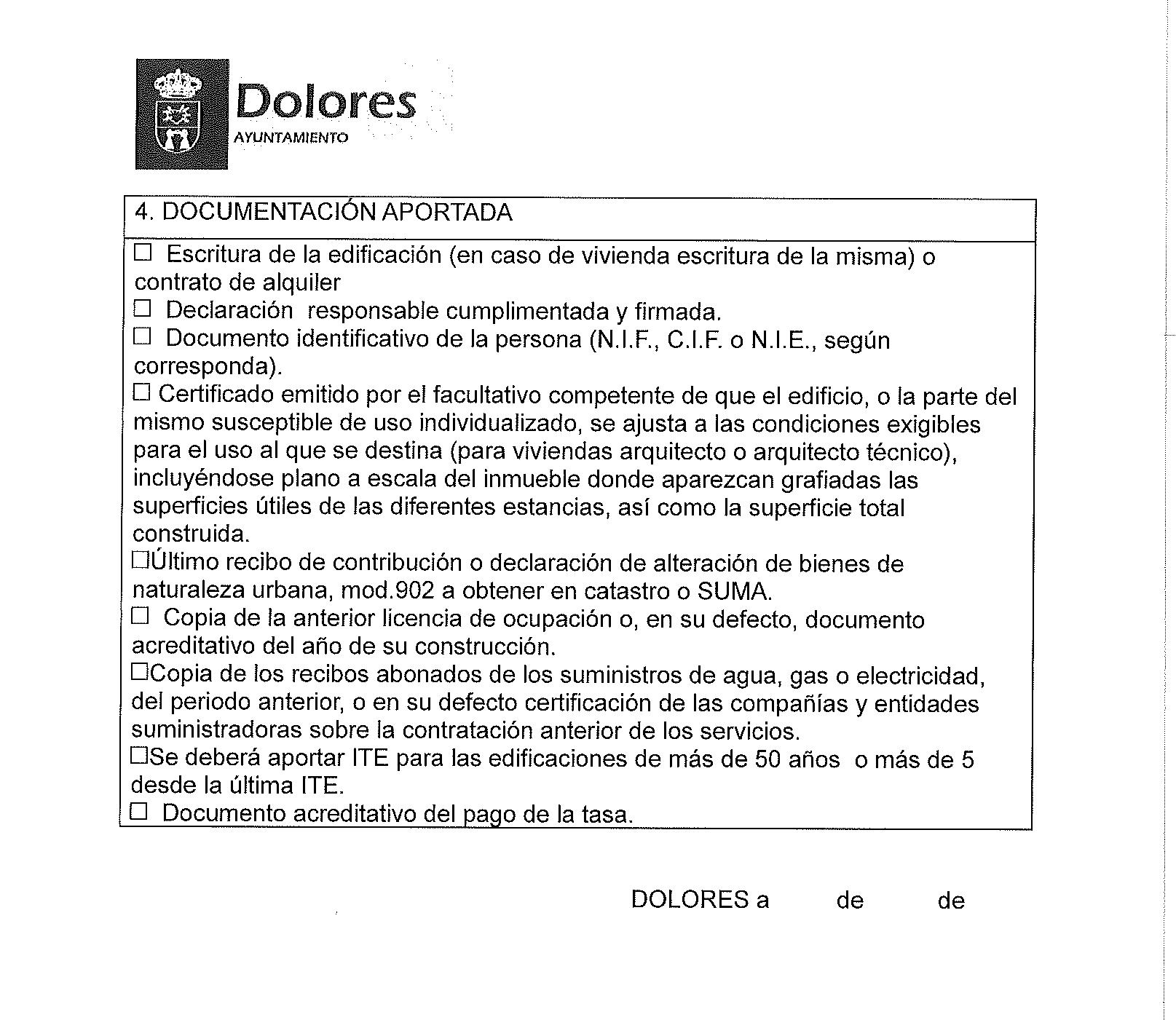 Impreso Declaración Responsable Segunda Ocupación Dolores