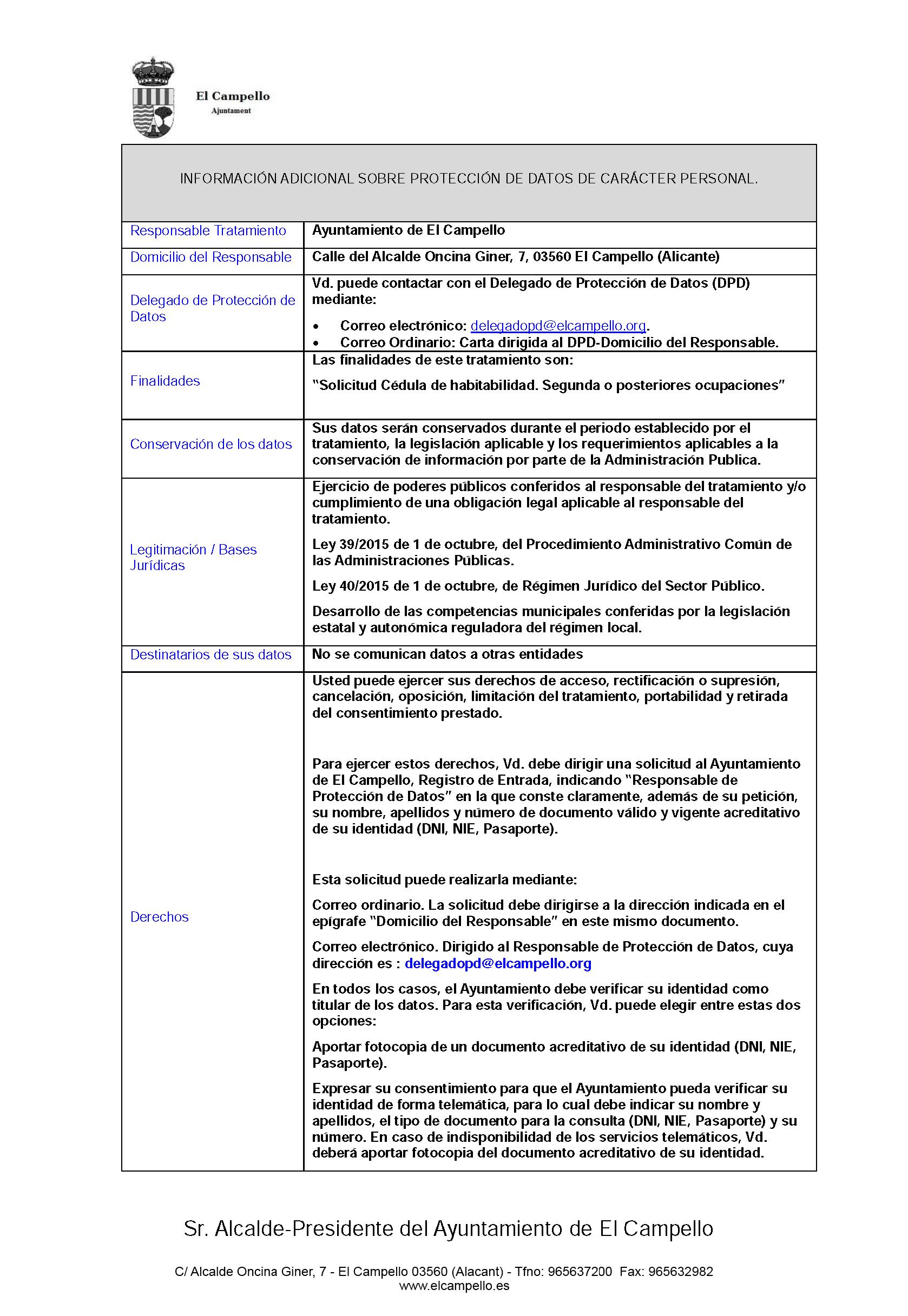 Impreso Declaración Responsable Segunda Ocupación El Campello - Vivienda
