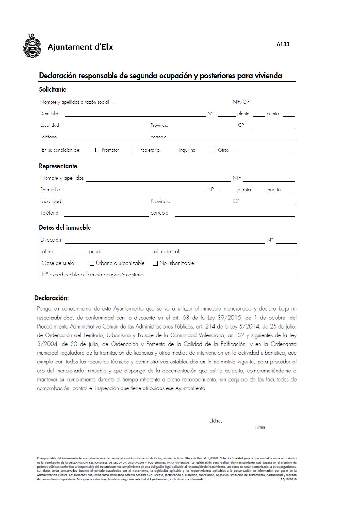 Impreso Declaración Responsable Segunda Ocupación Elche/Elx
