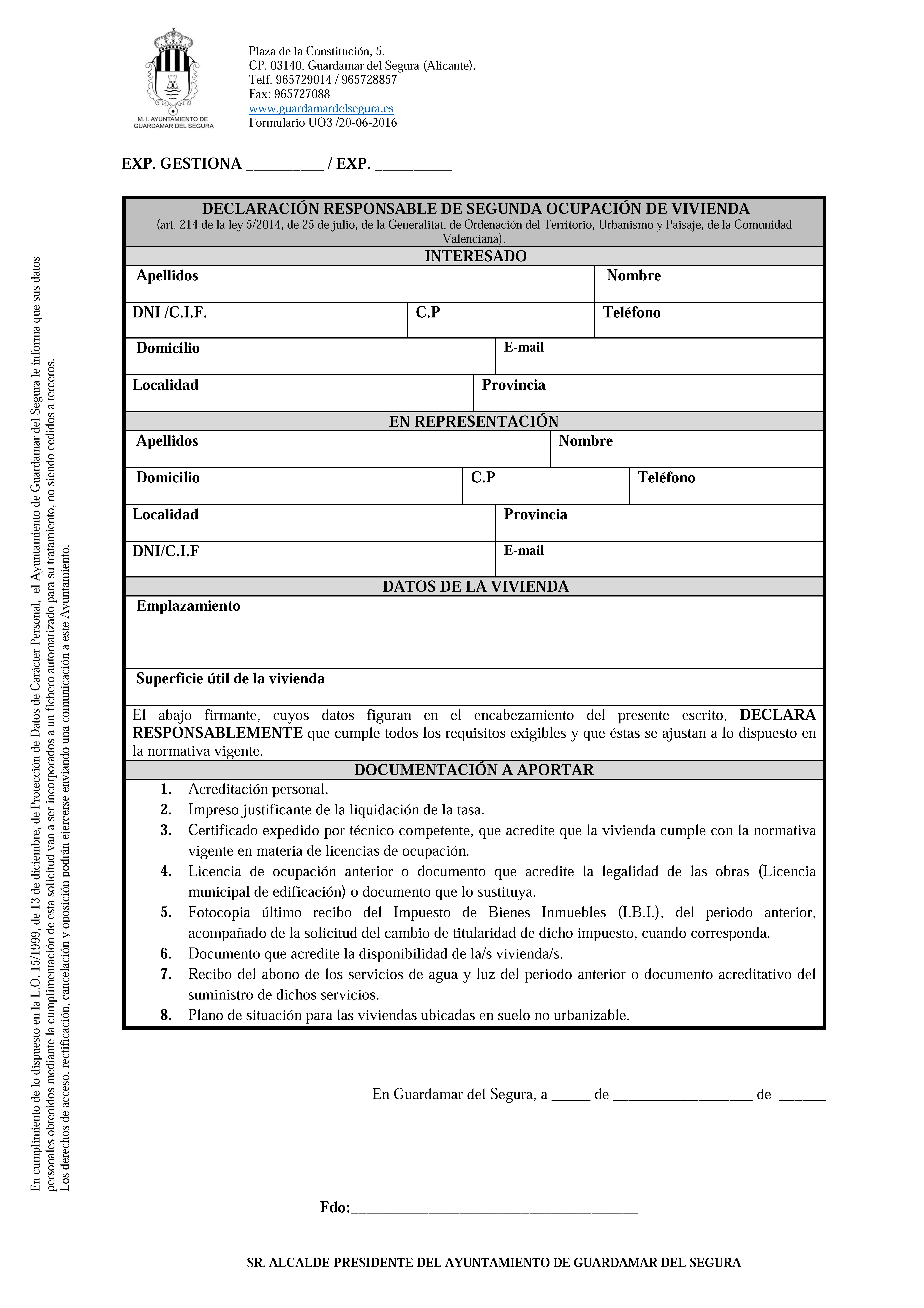 Impreso Declaración Responsable Segunda Ocupación Guardamar del Segura