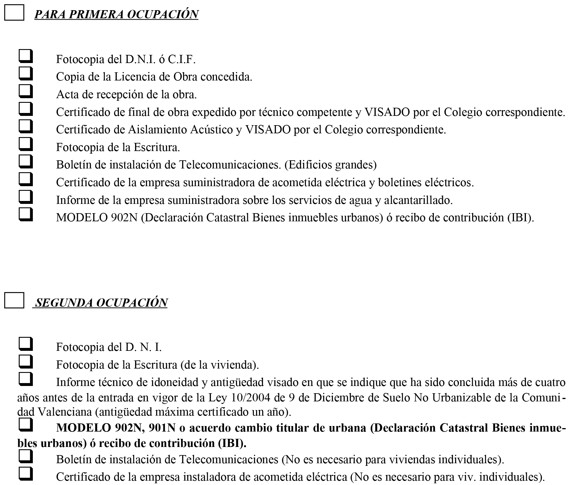 Impreso Declaración Responsable Segunda Ocupación Hondón de los Frailes