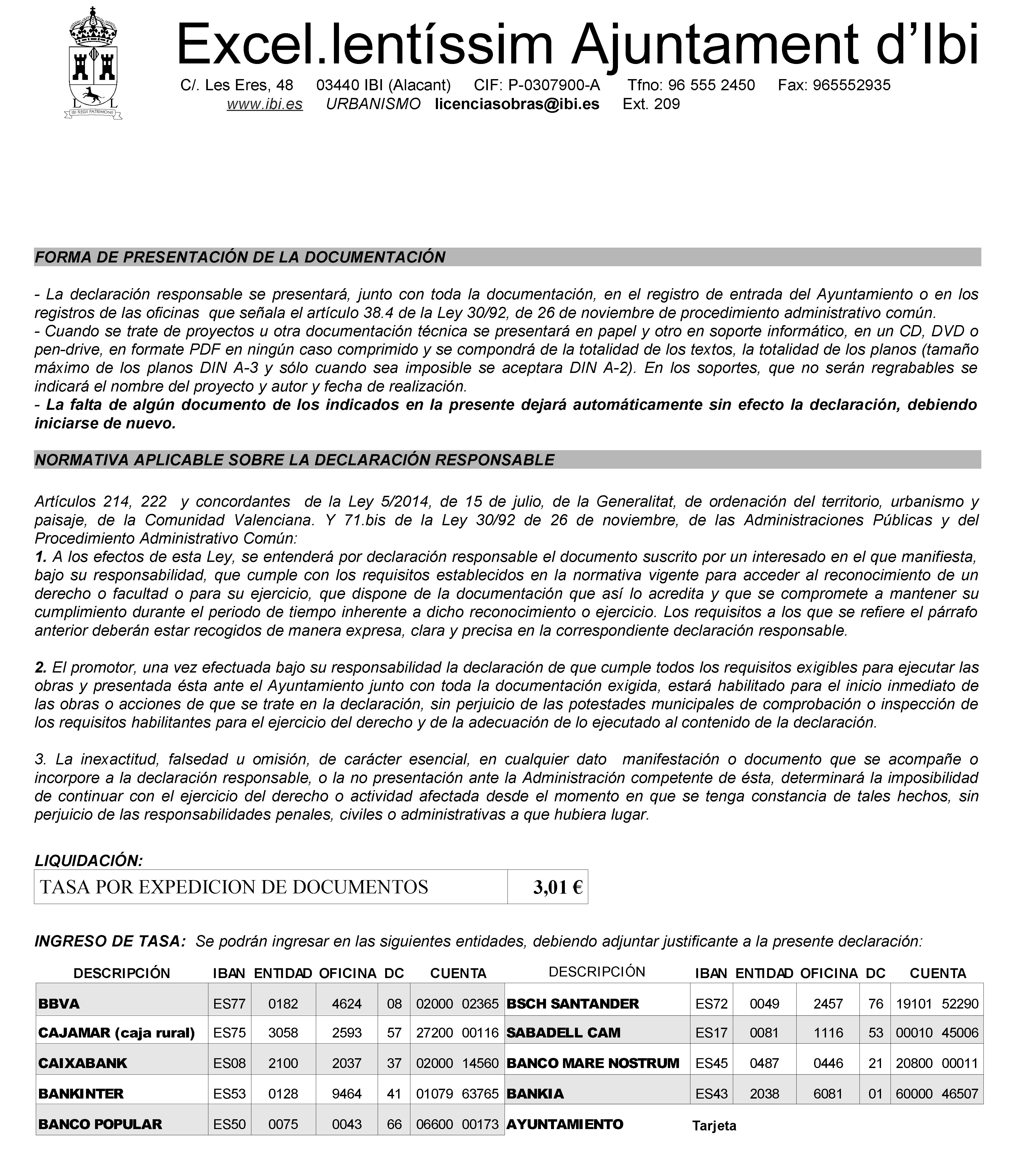 Impreso Declaración Responsable Segunda Ocupación Ibi