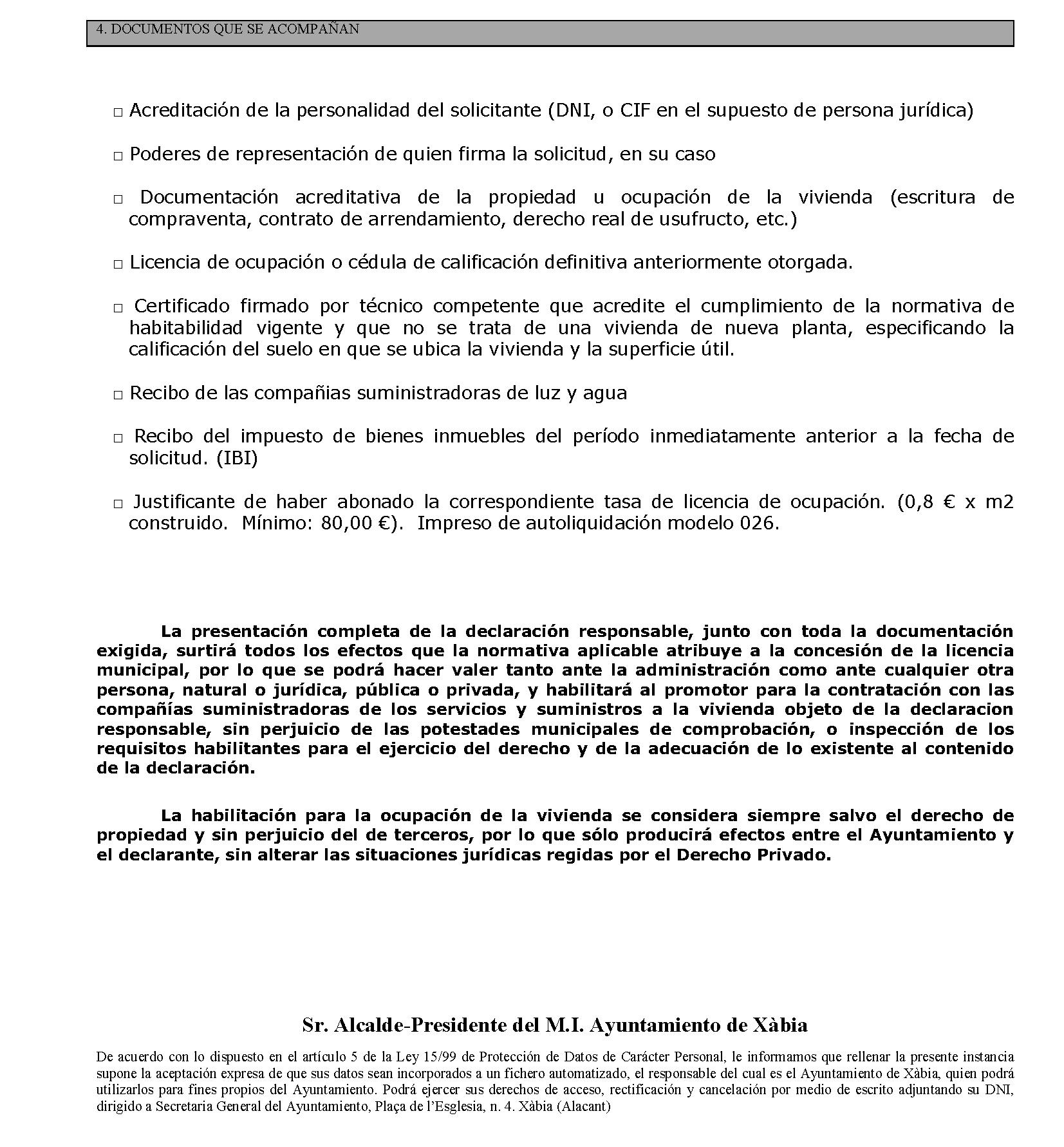 Impreso Declaración Responsable Segunda Ocupación Jávea/Xàbia