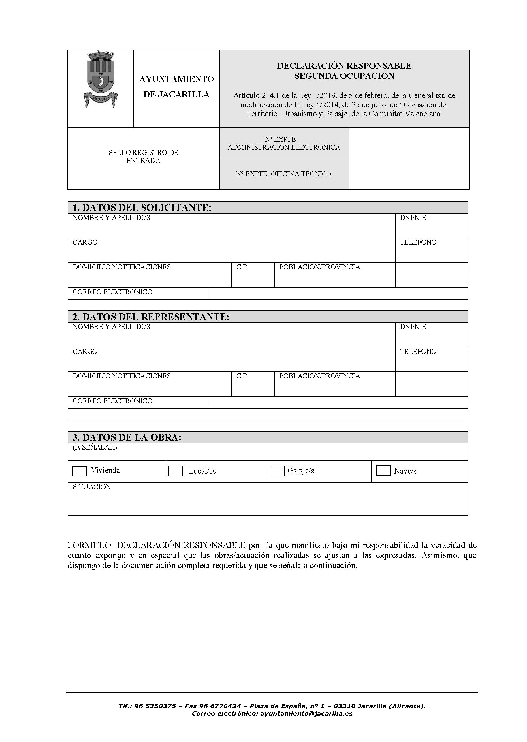 Impreso Declaración Responsable Segunda Ocupación Jacarilla