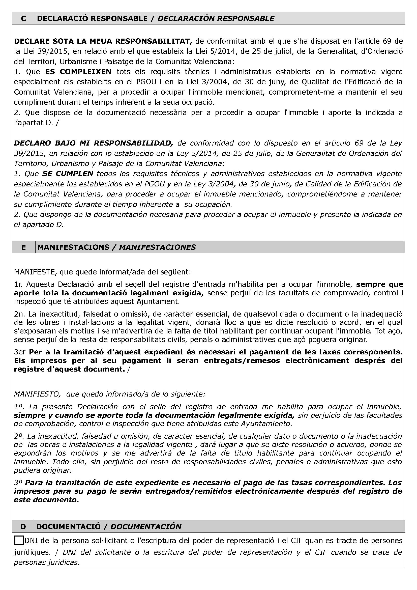 Impreso Declaración Responsable Segunda Ocupación L´Alcora