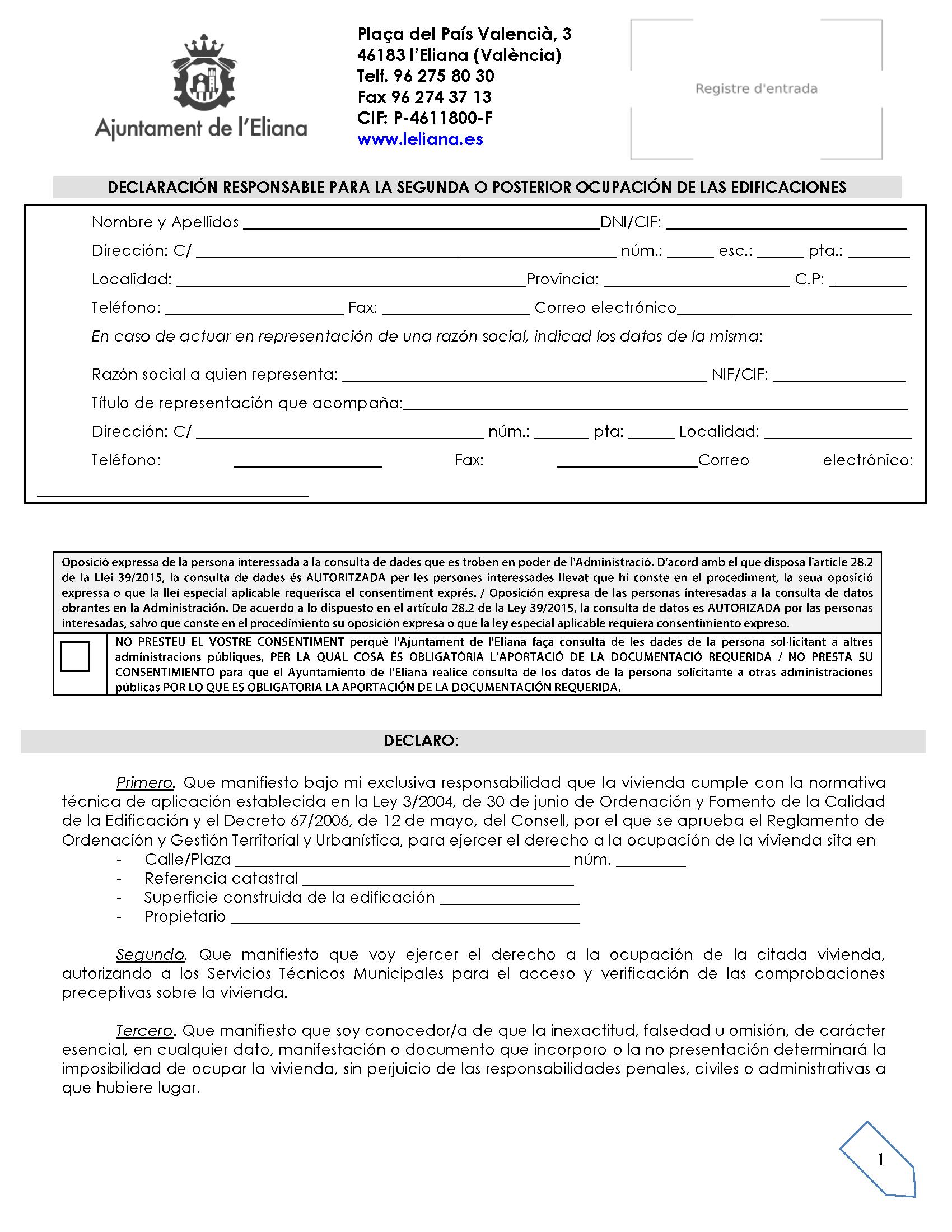 Impreso Declaración Responsable Segunda Ocupación La Eliana/L´Eliana