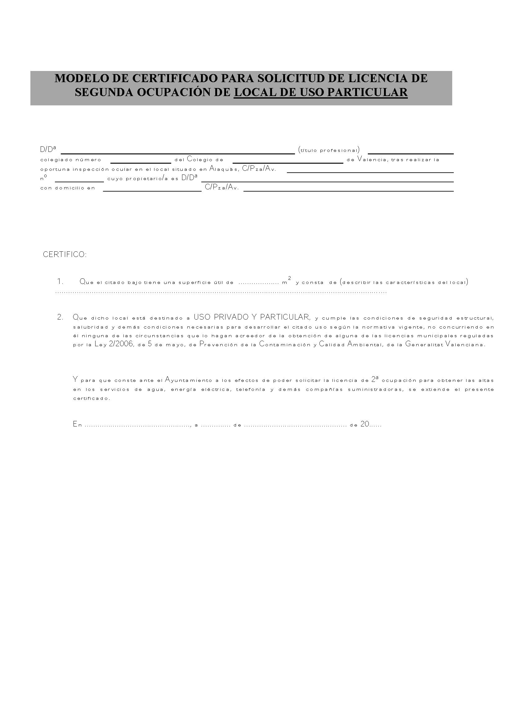 Impreso Declaración Responsable Segunda Ocupación Alaquàs - Local