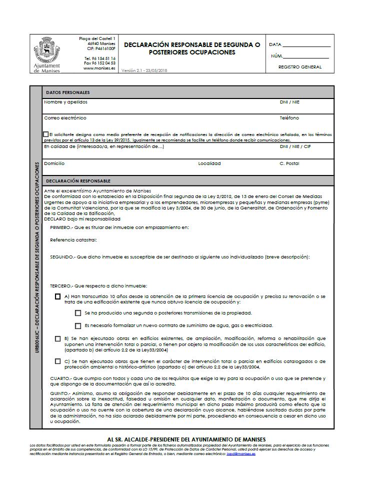 Impreso Declaración Responsable Segunda Ocupación Manises - vivienda