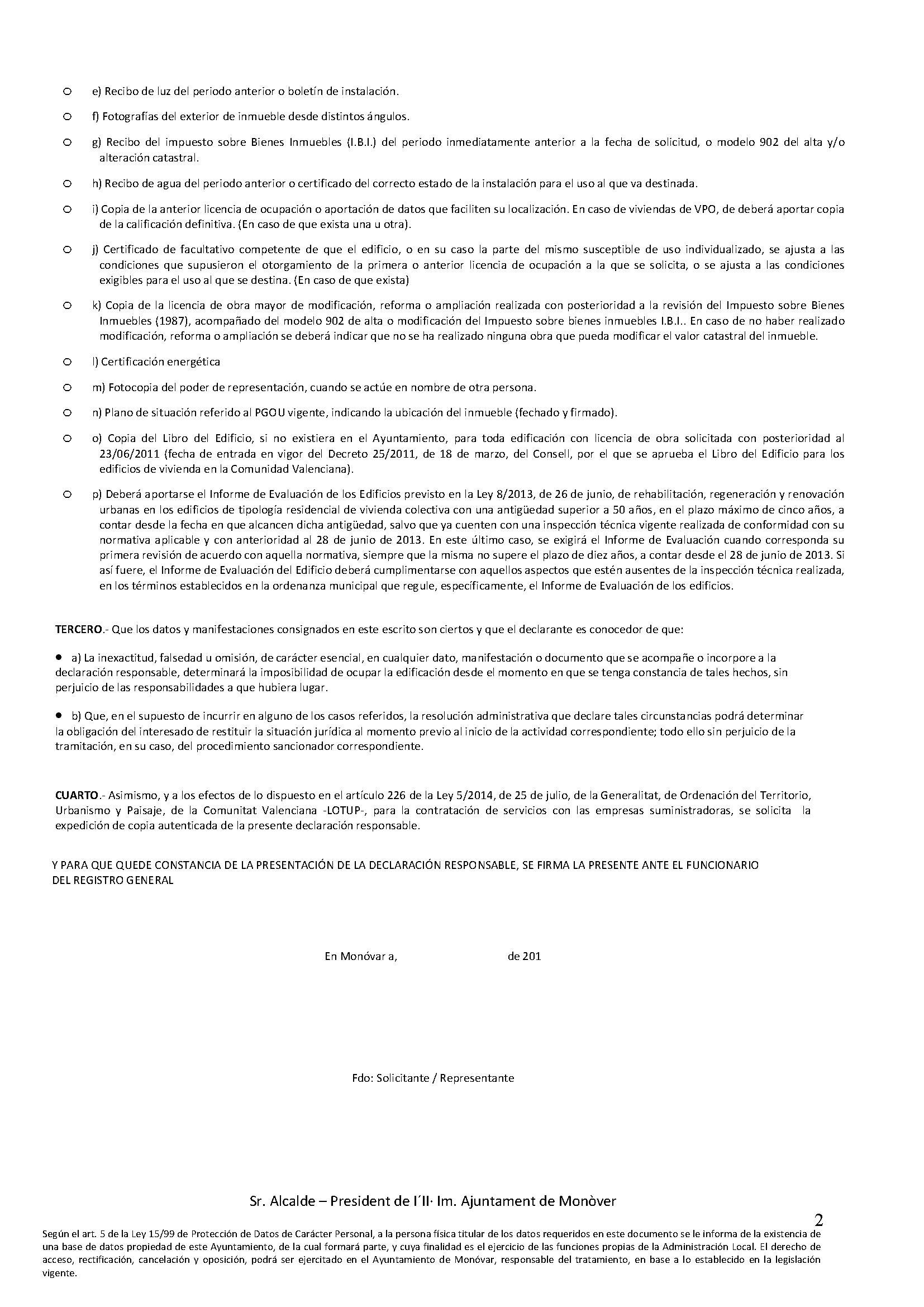 Impreso Declaración Responsable Segunda Ocupación Monovar