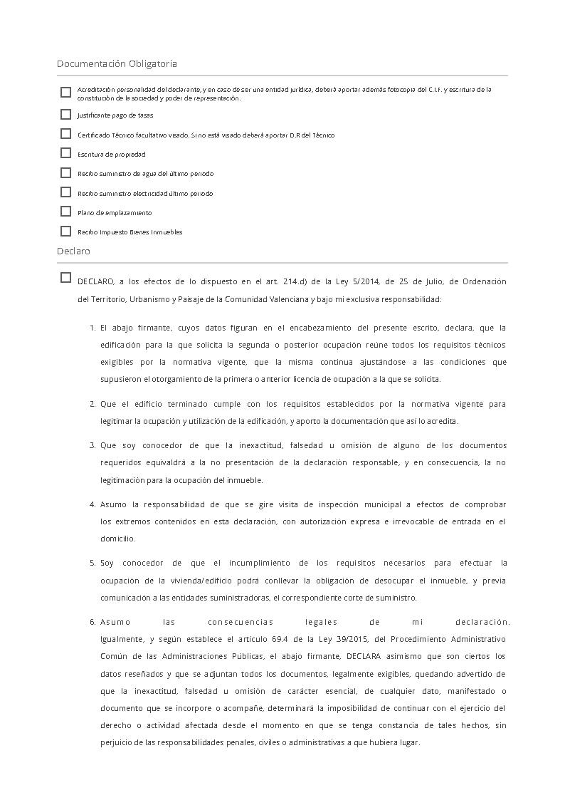 Impreso Declaración Responsable Segunda Ocupación Moraira