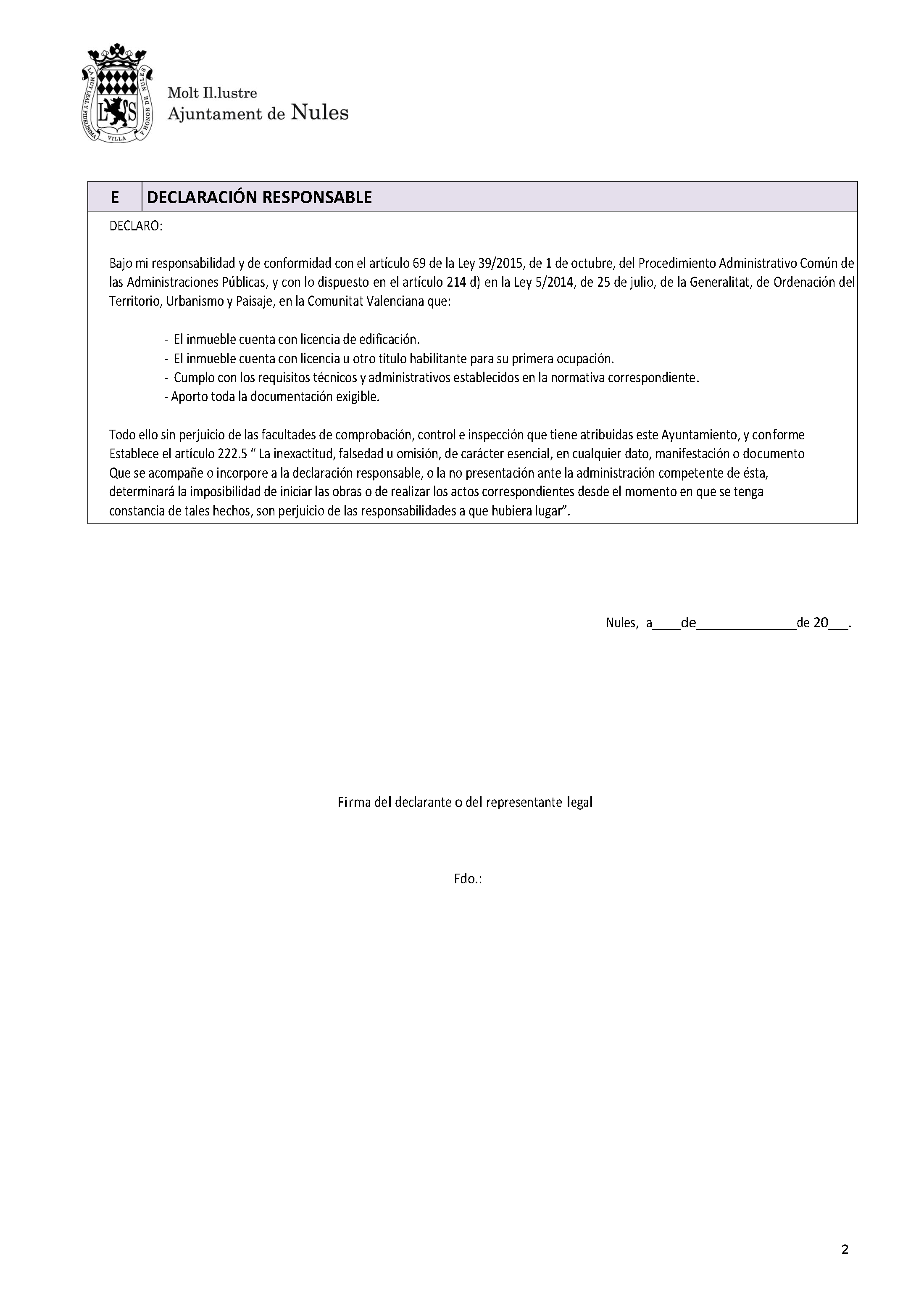 Impreso Declaración Responsable Segunda Ocupación Nules