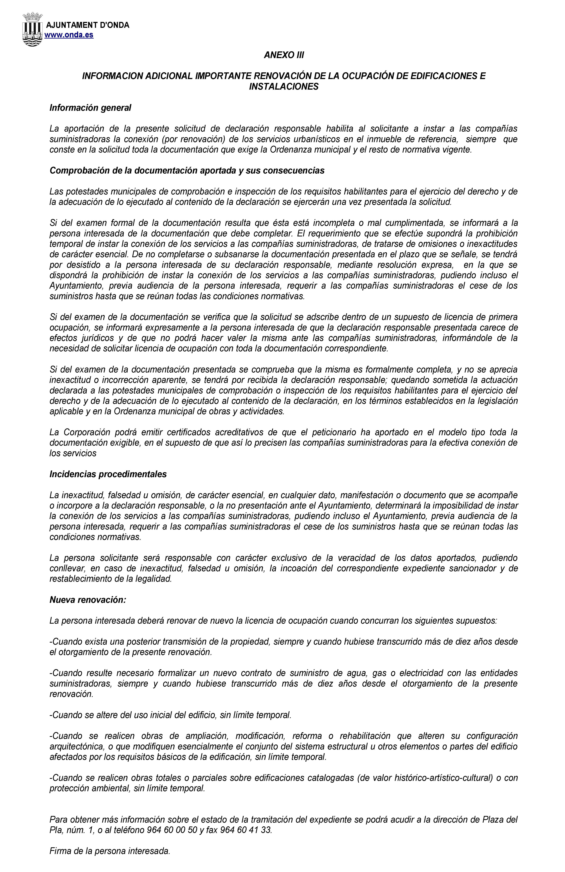 Impreso Declaración Responsable Segunda Ocupación Onda