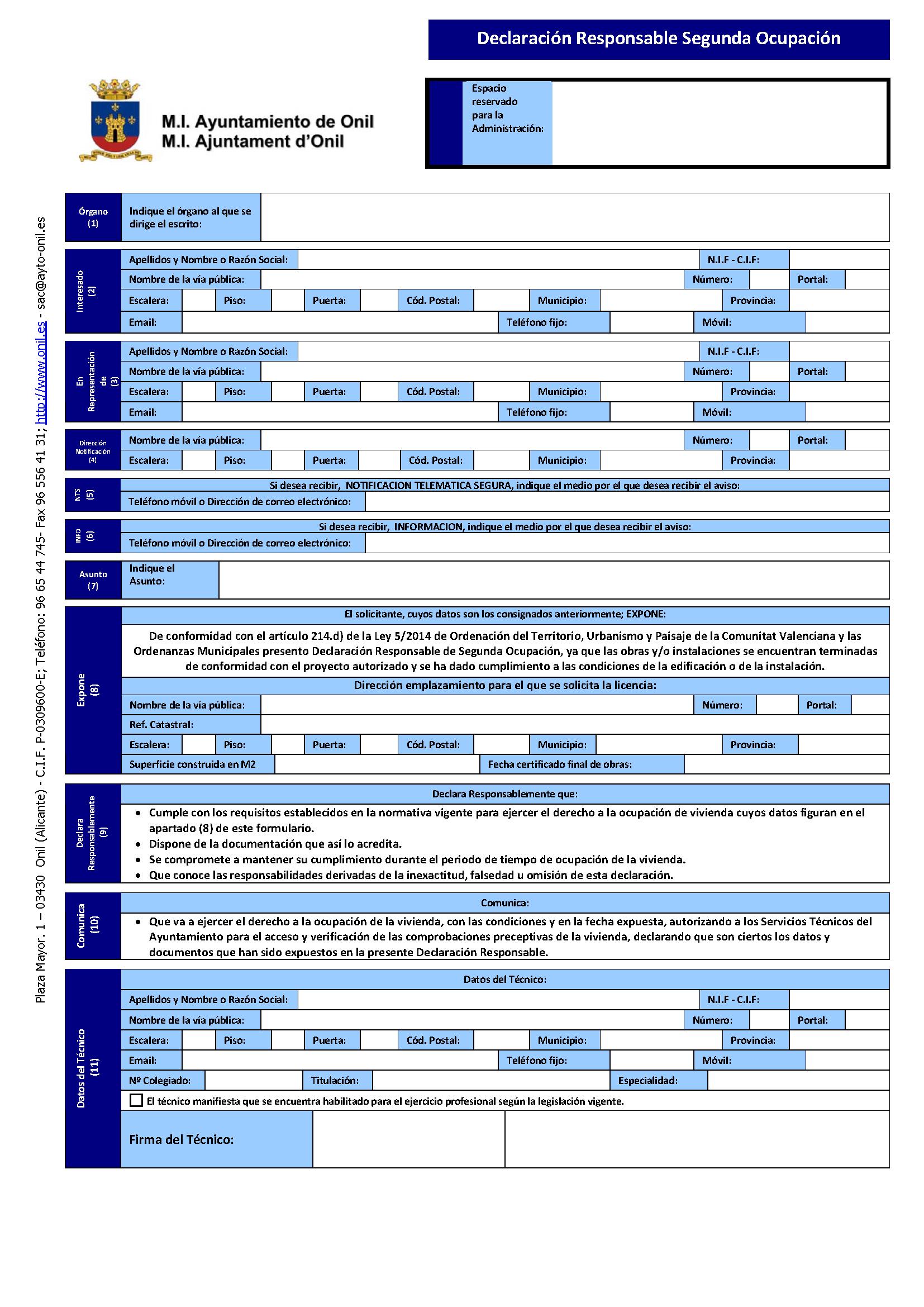 Impreso Declaración Responsable Segunda Ocupación Onil