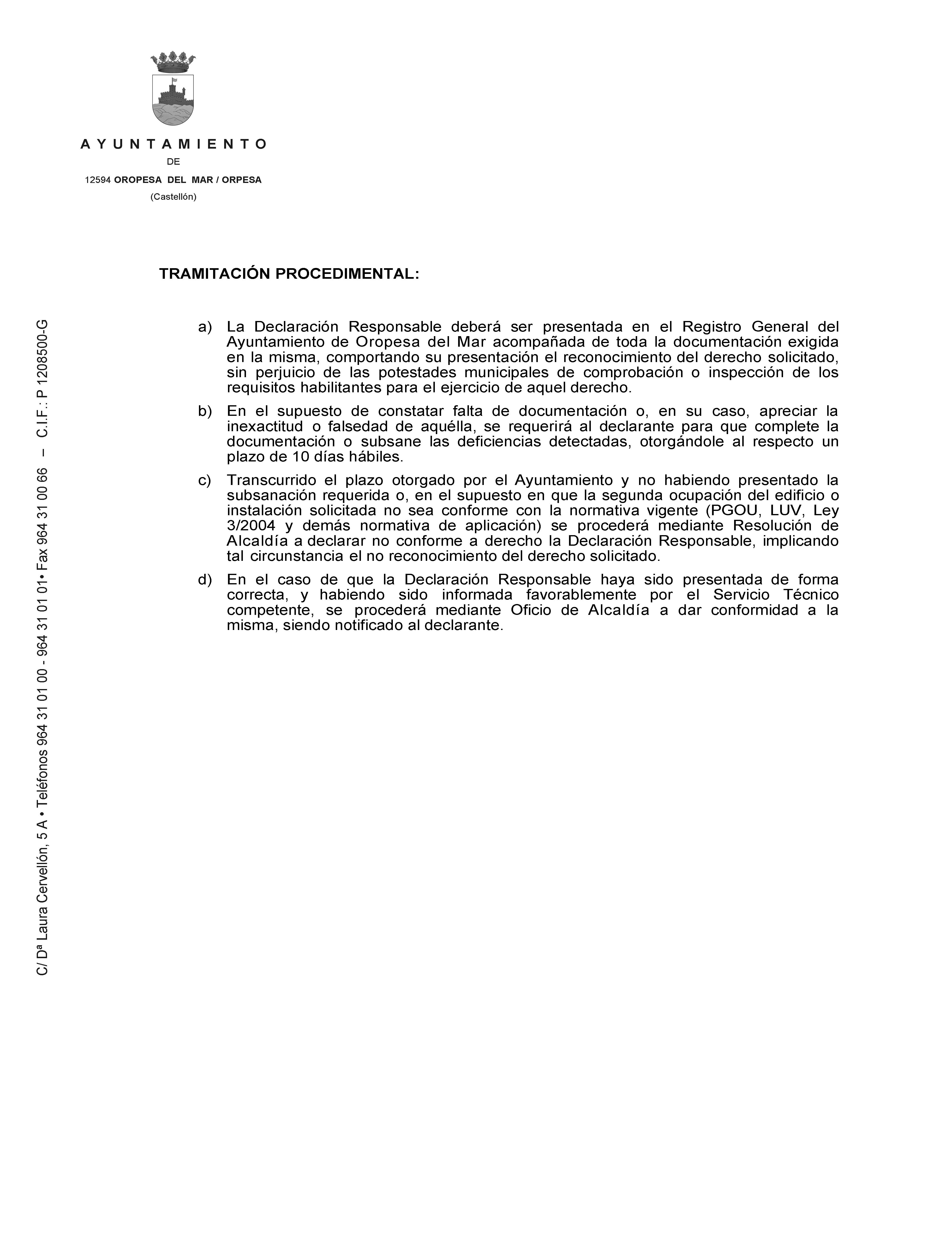Impreso Declaración Responsable Segunda Ocupación Oropesa del Mar/Orpesa
