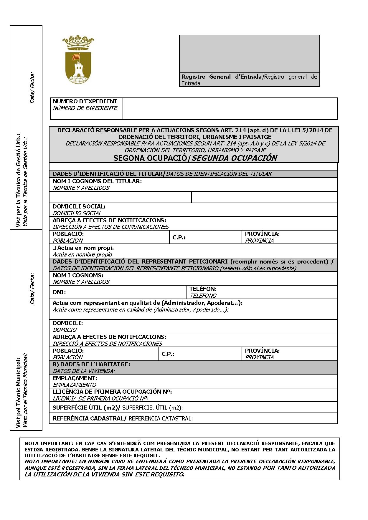 Impreso Declaración Responsable Segunda Ocupación Pedreguer