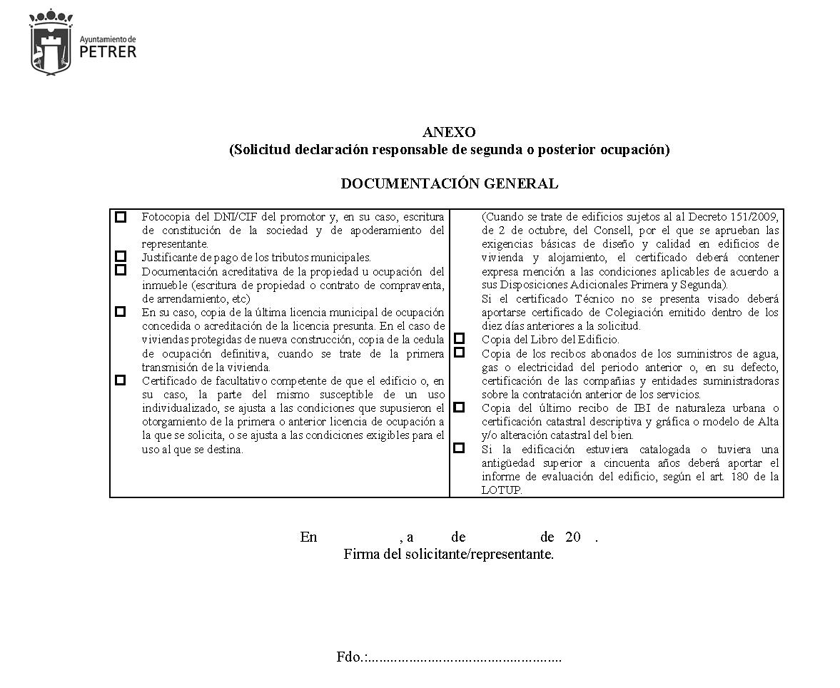 Impreso Declaración Responsable Segunda Ocupación Petrer