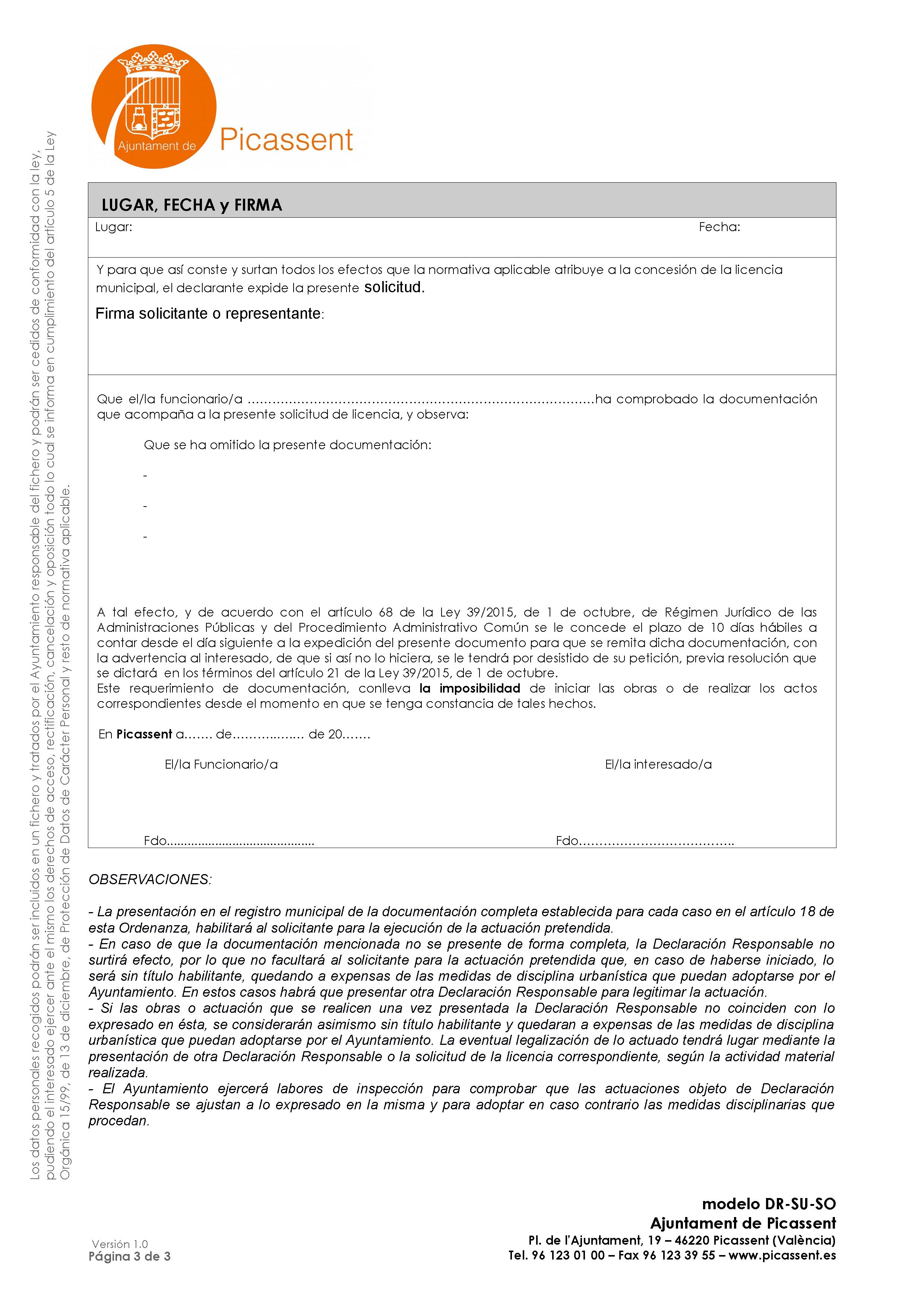 Impreso Declaración Responsable Segunda Ocupación Picasent/Picassent - vivienda