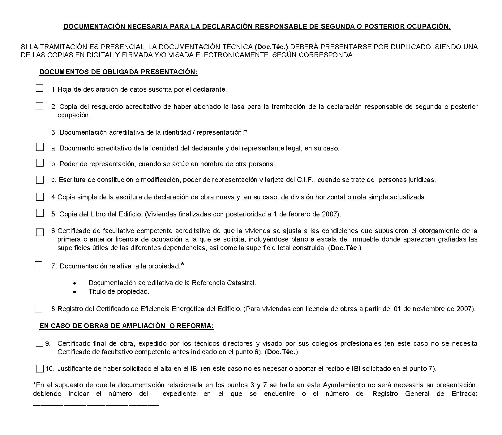 Impreso Declaración Responsable Segunda Ocupación Pilar de la Horadada