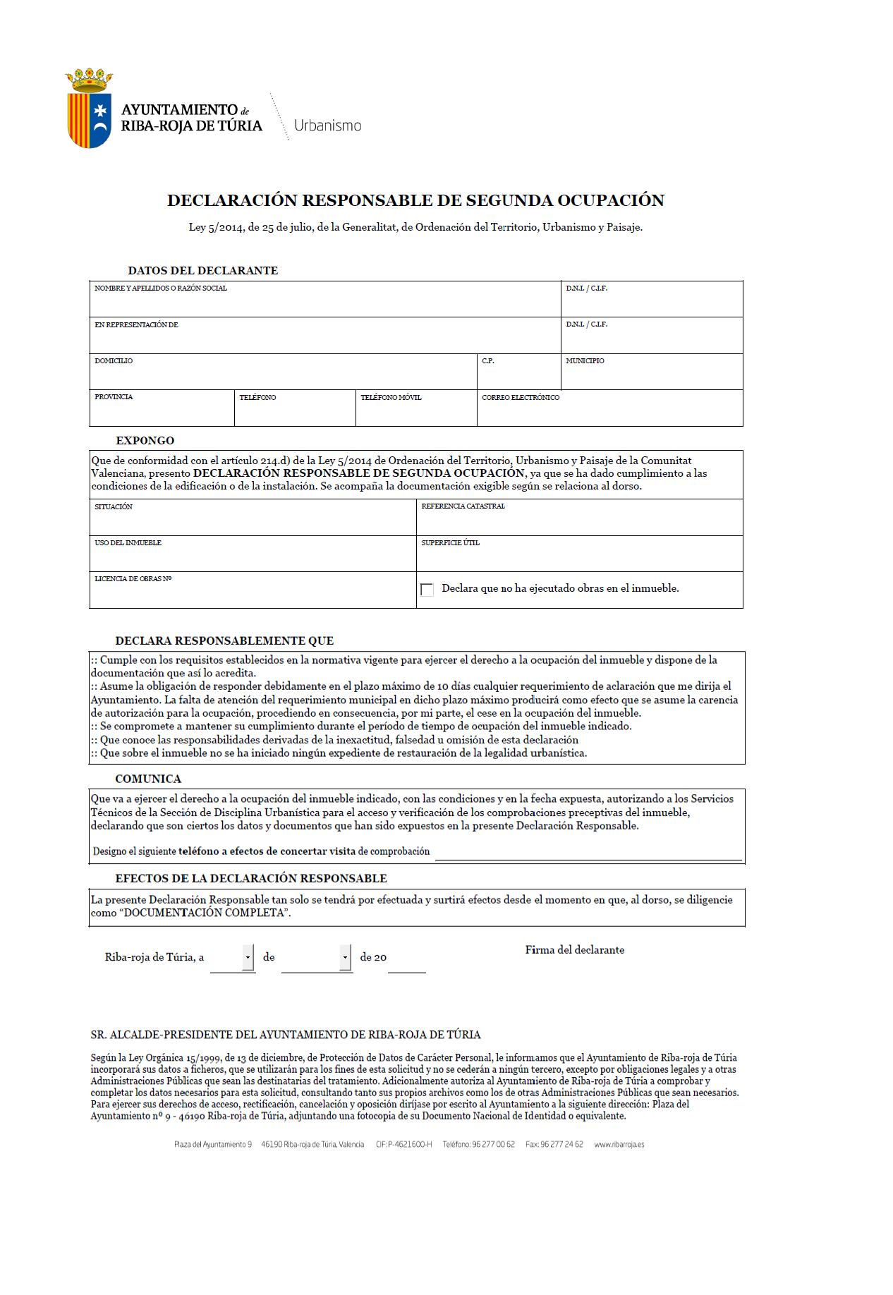 Impreso Declaración Responsable Segunda Ocupación Ribarroja del Turia/Riba-Roja de Turia - vivienda